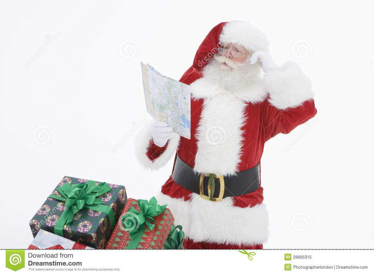 Mens in Santa Claus Outfit Reading Road Map