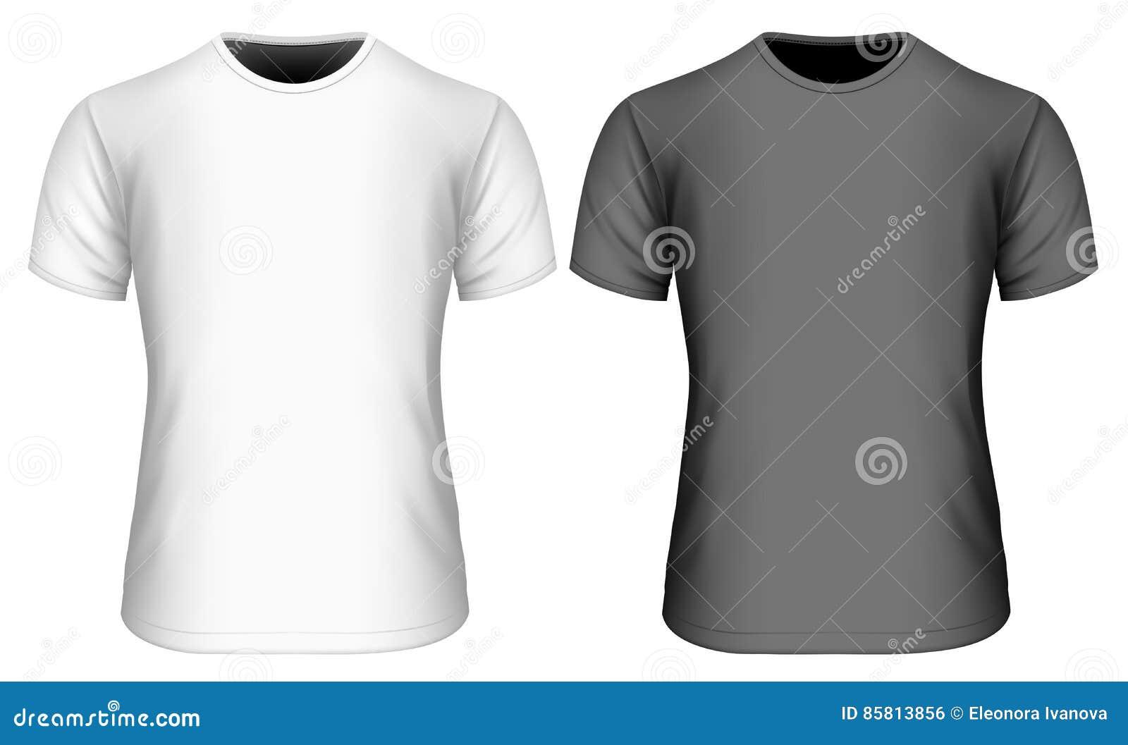48e430911 Mens short sleeve black and white t-shirt. Front view. Vector illustration.  Fully editable handmade mesh. More similar stock illustrations