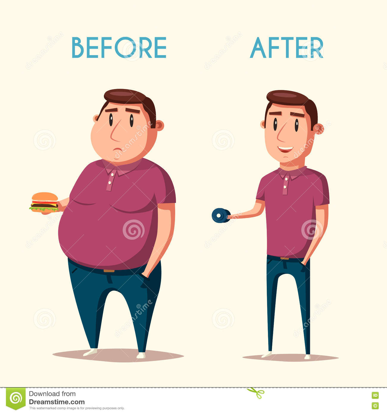 Mens Before And After Sporten De Vectorillustratie Van Het ...