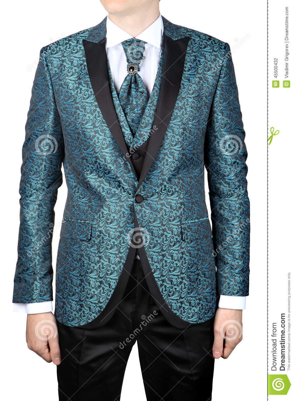Mens Suit With Floristic Pattern, Wedding Attire, Isolated On Wh ...
