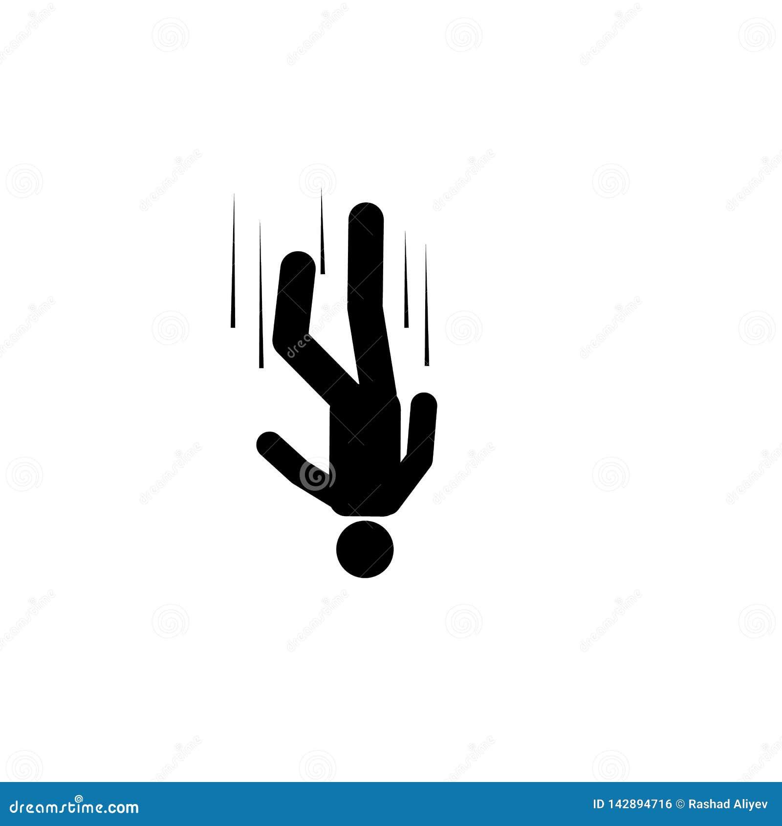 Mens, vrije daling, hoog, zelfmoordpictogram Element van mensendaling neer Grafisch het ontwerppictogram van de premiekwaliteit t