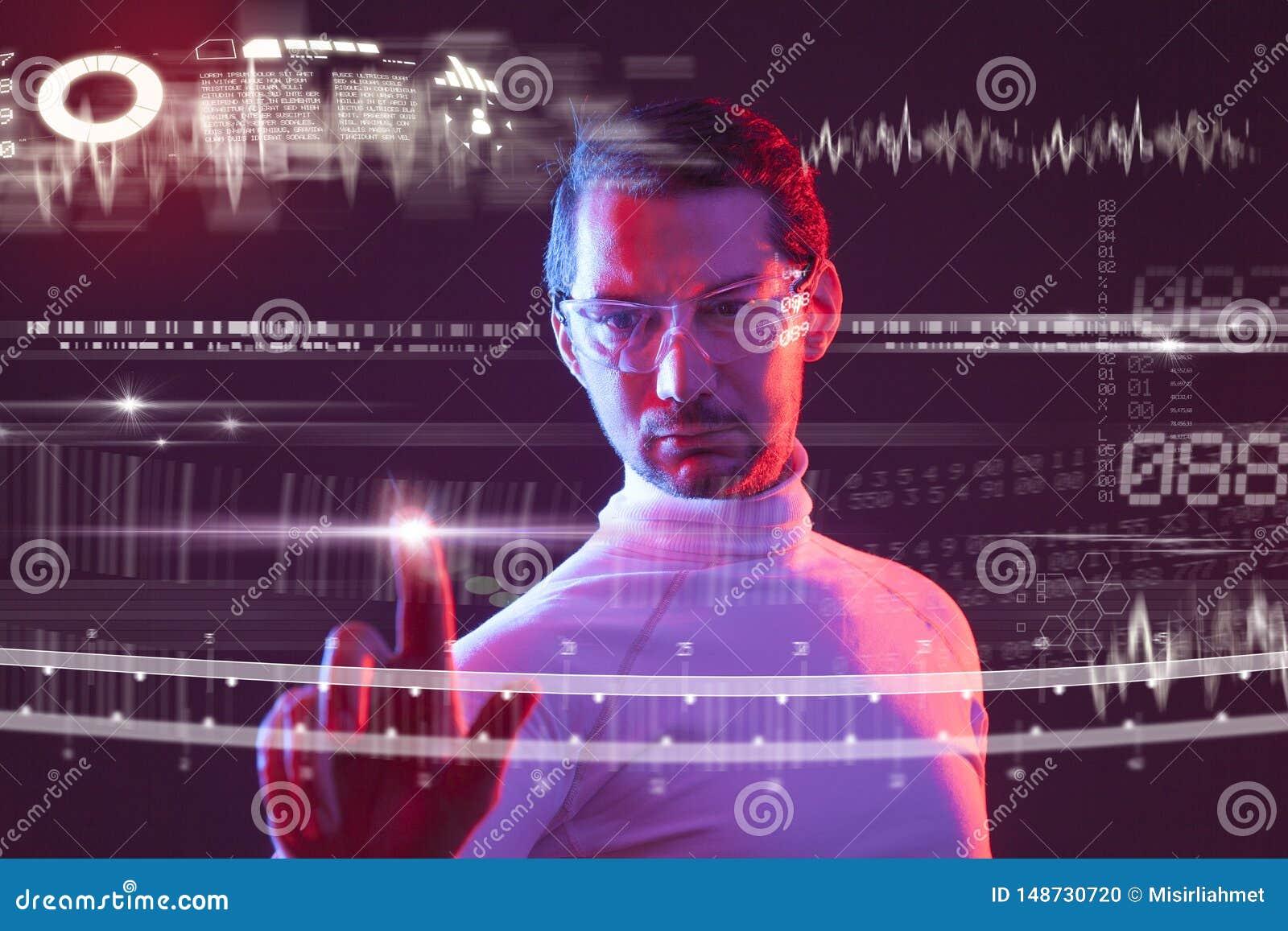 Mens wat betreft de virtuele toekomstige interface