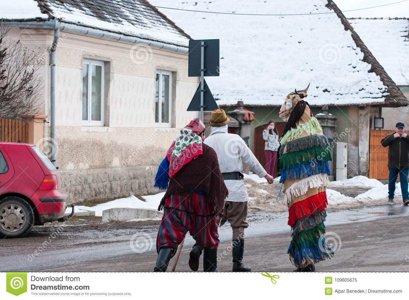 7a86e9fe3 Mens wearing masks on the winter ending Transylvanian traditional carnival