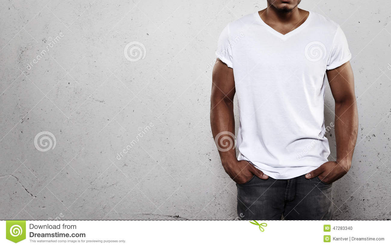 Mens in Witte T-shirt