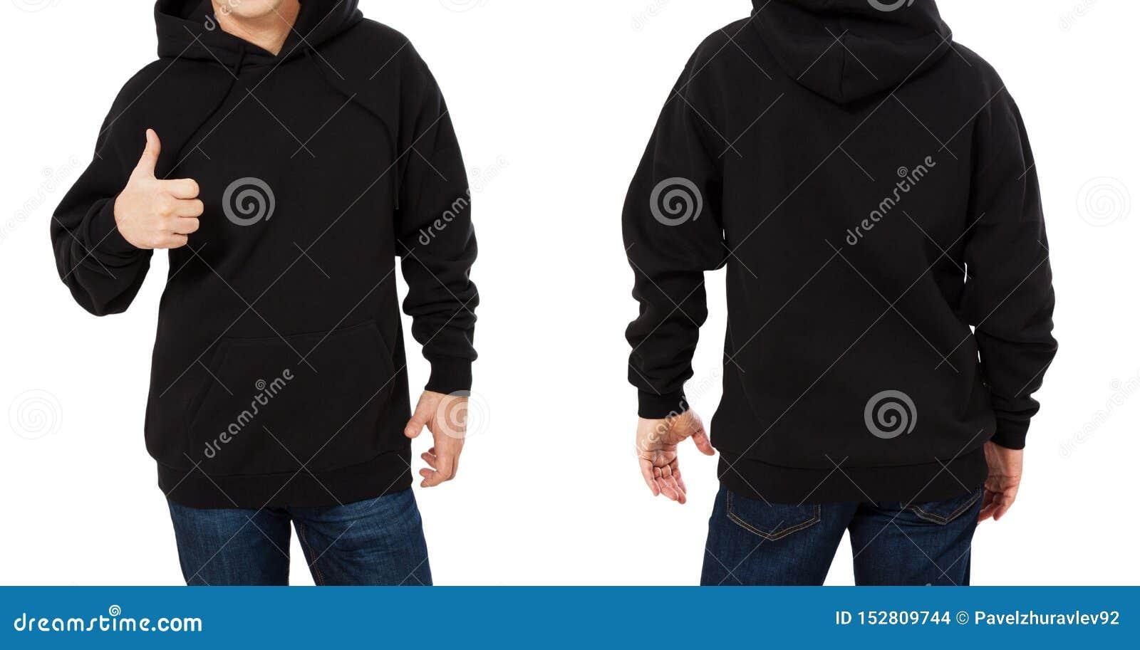 Mens in zwart geïsoleerde sweatshirtmalplaatje Mannelijke zwarte sweatshirts die met model en exemplaarruimte worden geplaatst Ho