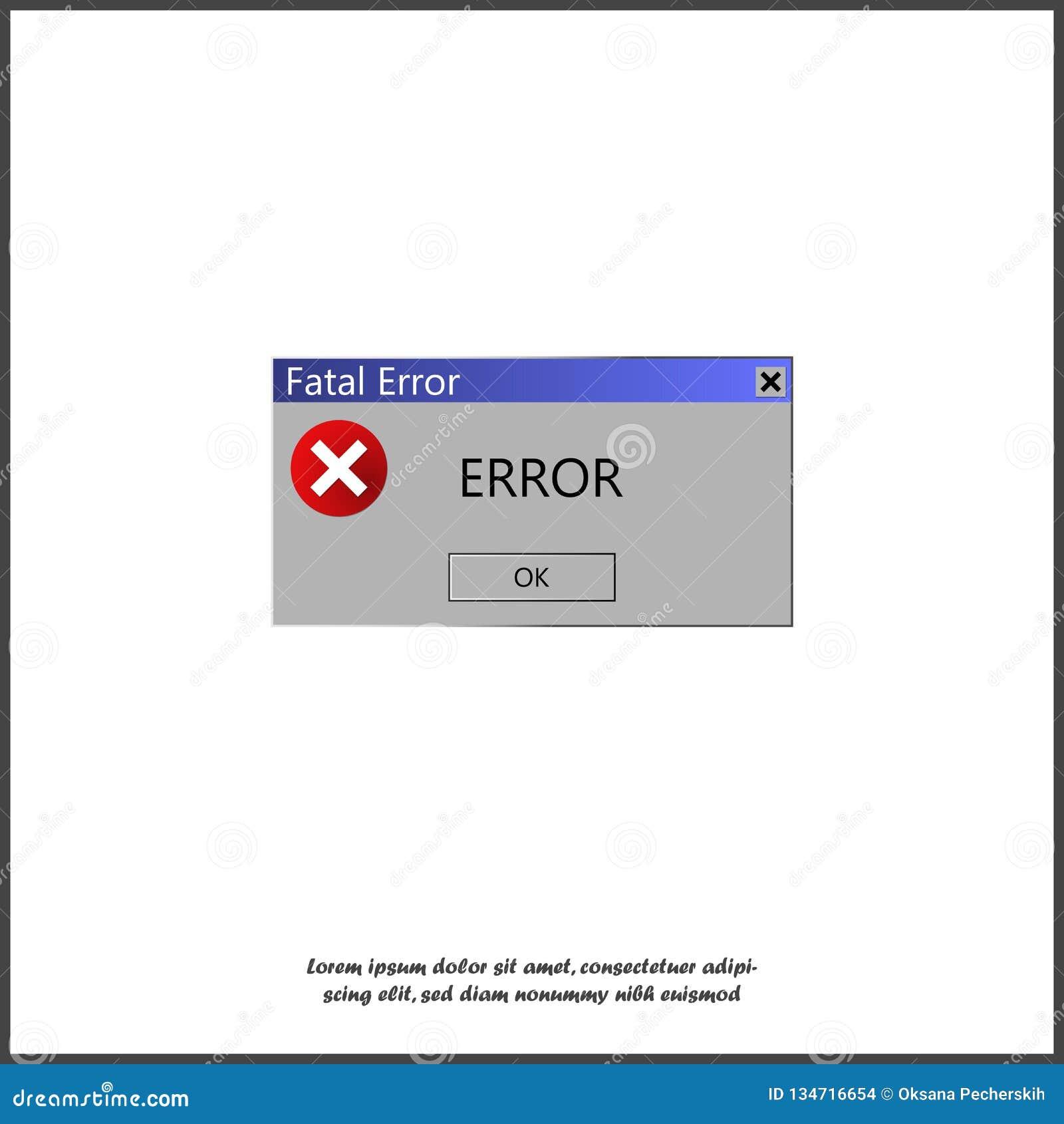 Mensagem de advertência sobre um erro no sistema operacional Aviso da ilustração do vetor O computador estala acima a mensagem de