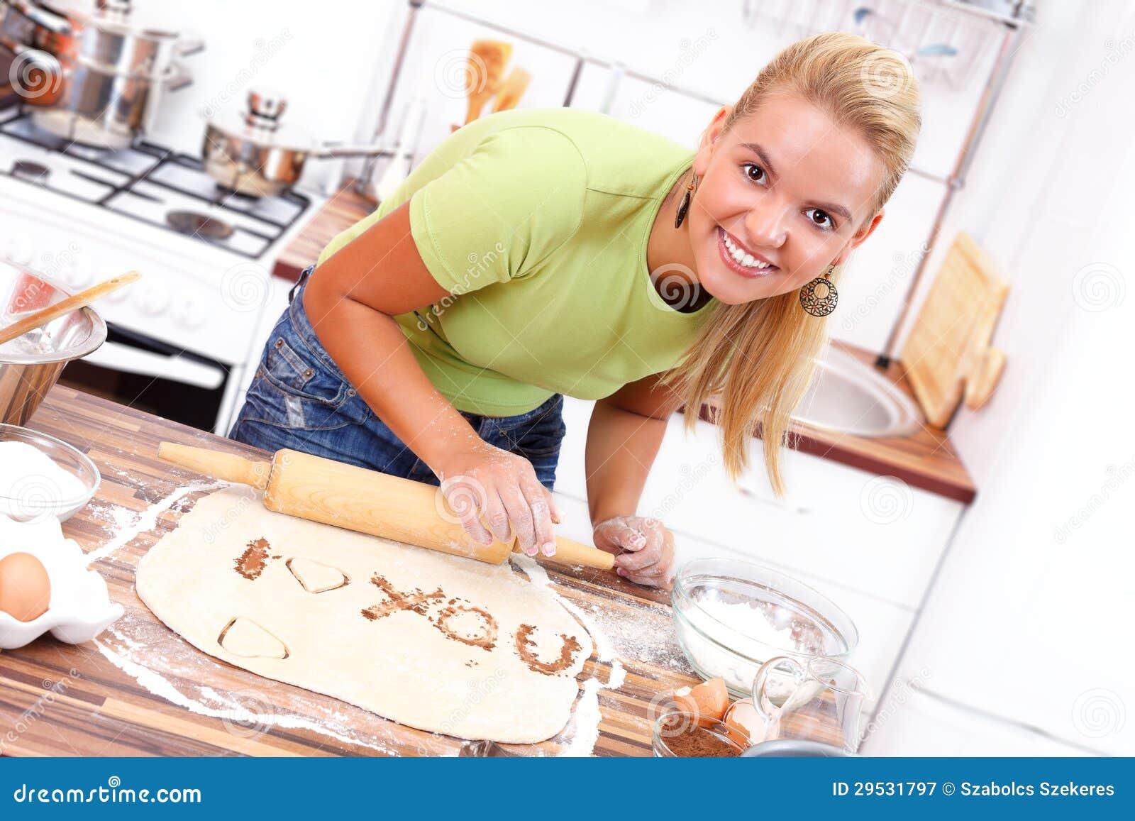 Mensagem do amor na cozinha