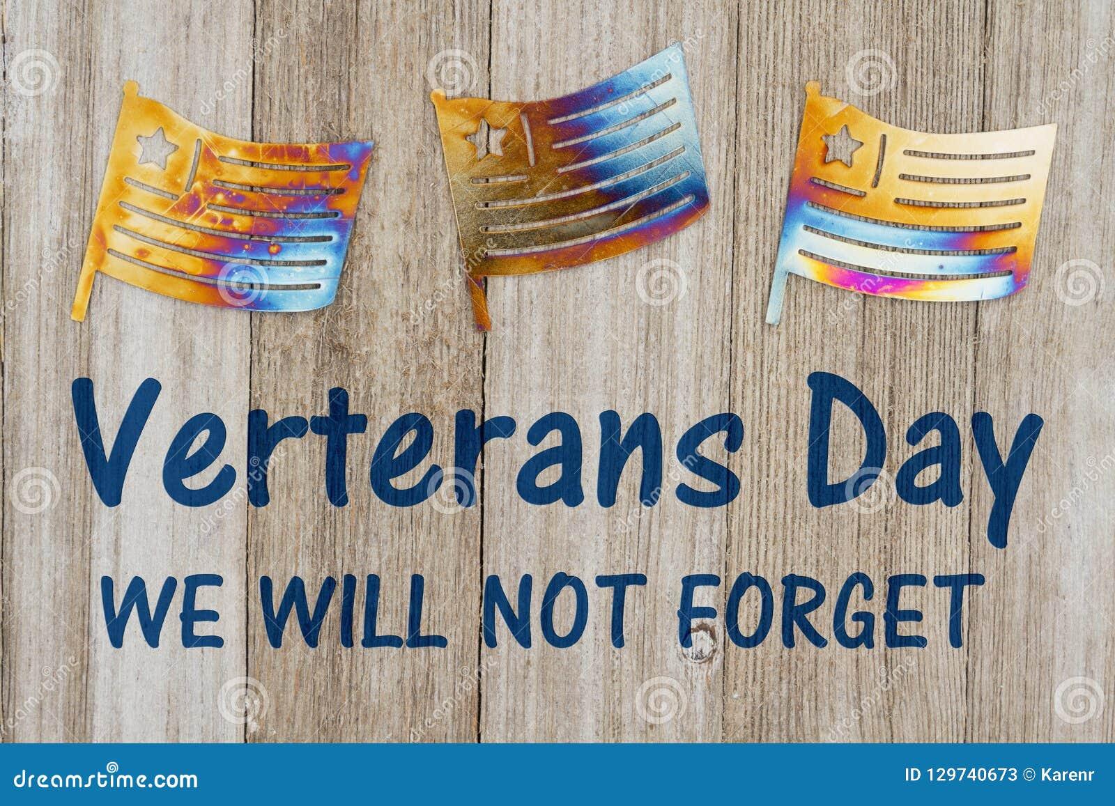 Mensagem do dia de veteranos com bandeiras do metal