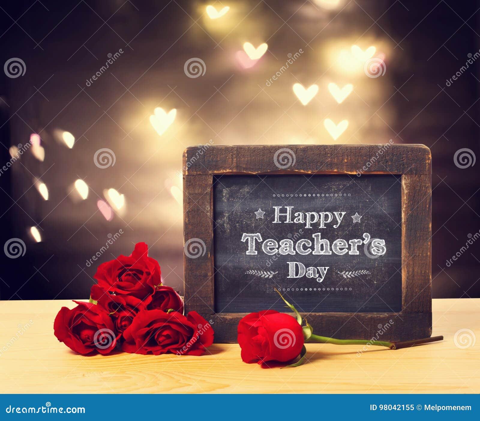 Mensagem Feliz Do Dia Dos Professores Com Rosas Imagem De Stock Imagem De Professores Rosas 98042155