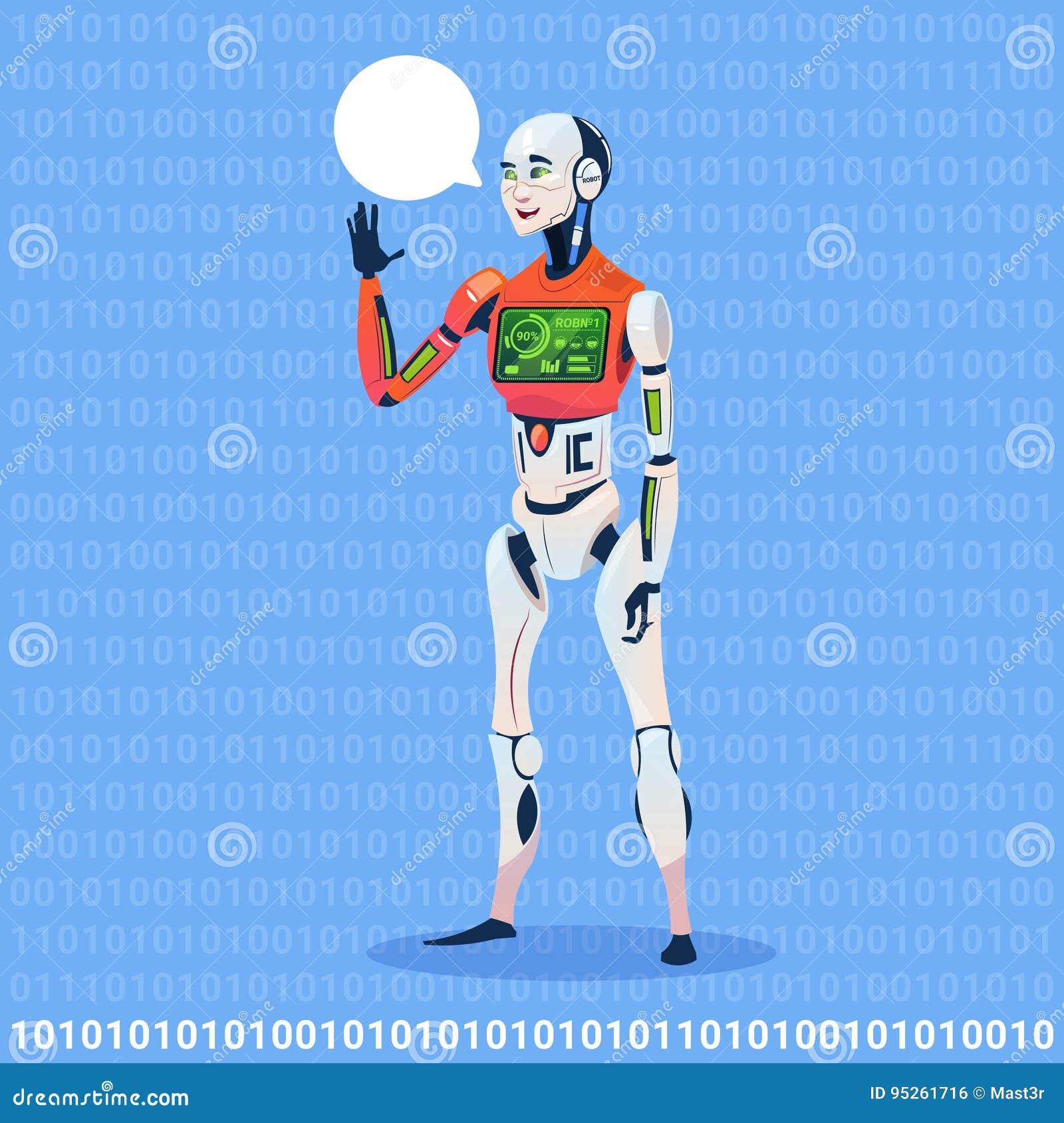 Mensagem moderna da bolha do bate-papo da mostra do robô com conceito futurista da tecnologia de inteligência artificial da carga