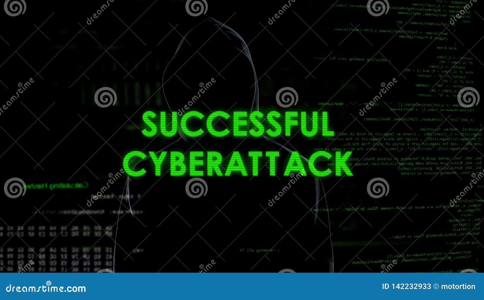 Mensaje acertado del cyberattack, pirata informático que consigue el acceso al sistema, ataque de la privacidad