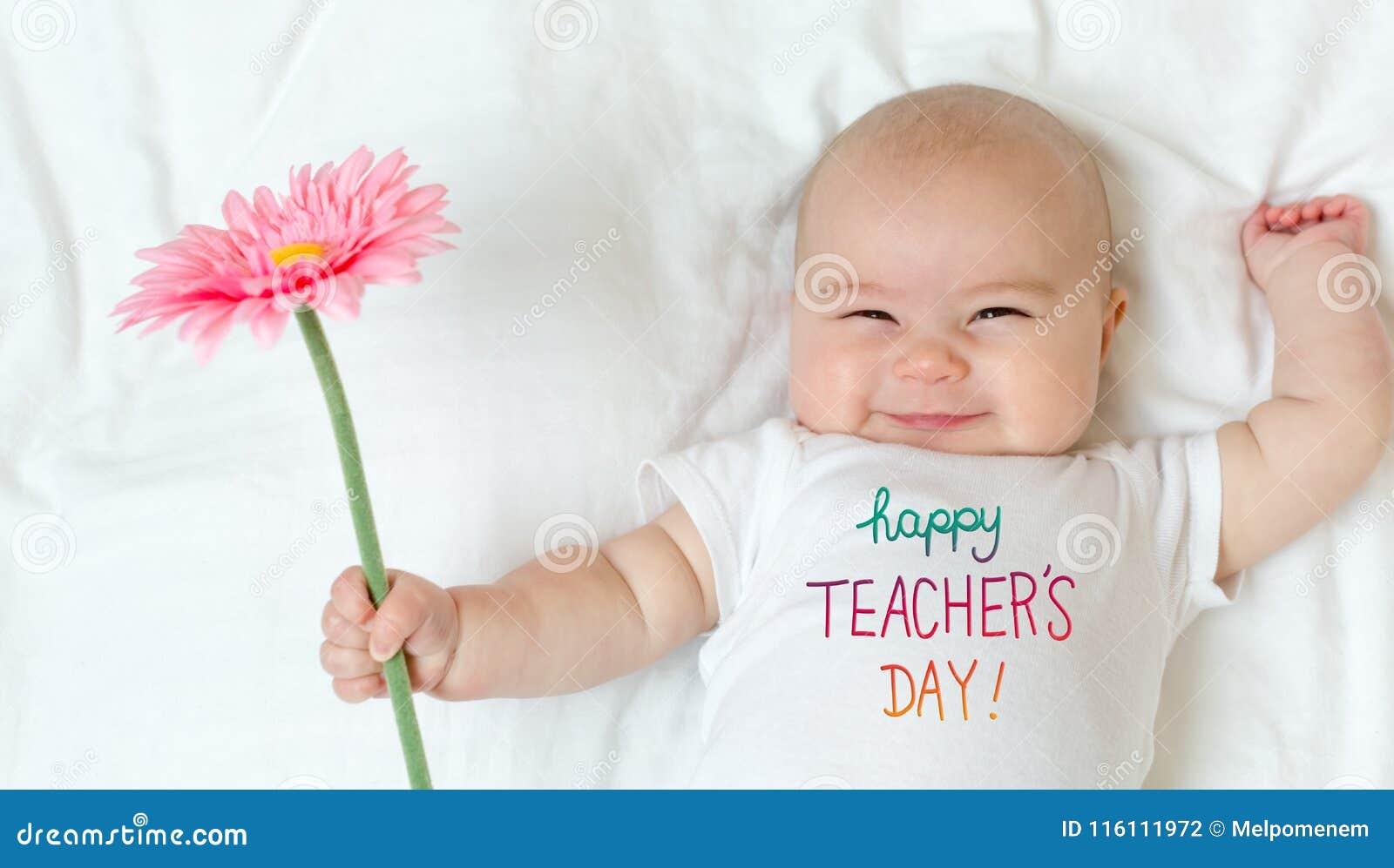 Mensaje del día del ` s del profesor con el bebé