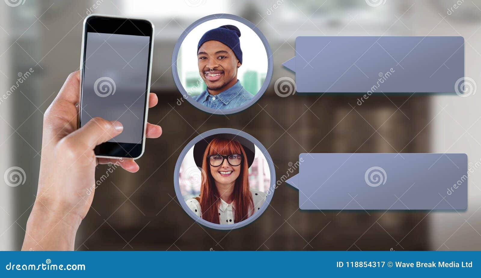 Mensajería App en el teléfono a disposición con perfiles de la charla