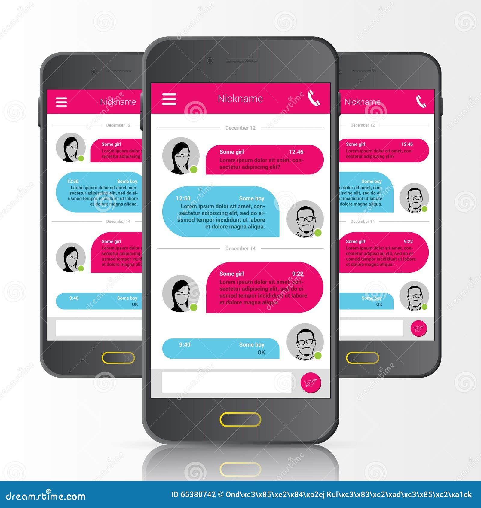 Mensajero del SMS Burbujas del discurso Interfaz de la charla del teléfono Vector