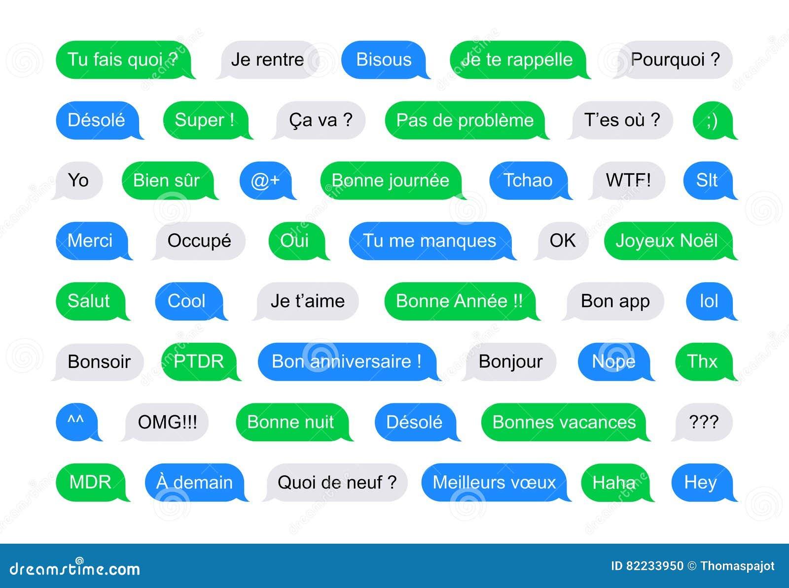 Mensajes Cortos De Las Burbujas De Sms En Francés