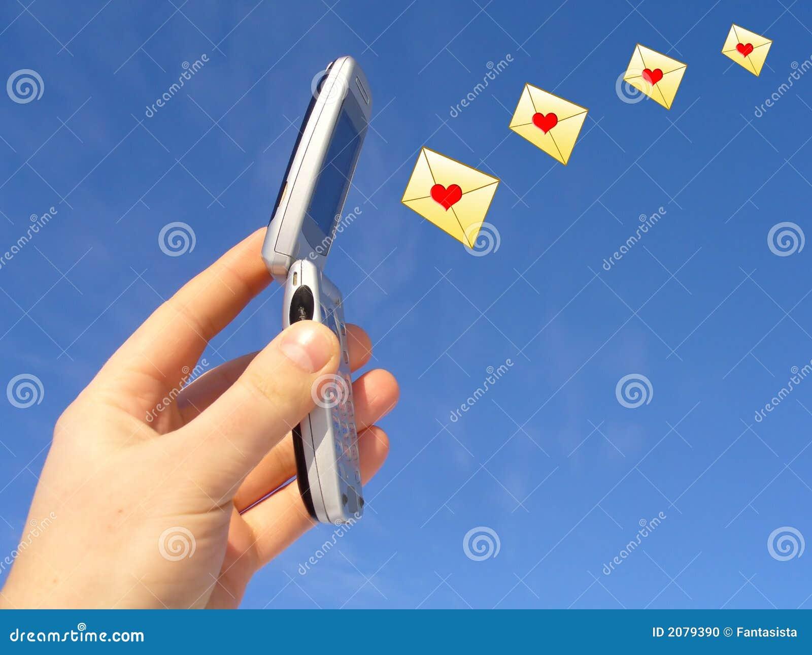 celular abierto con las ilustraciones de los sobres sellados con ...