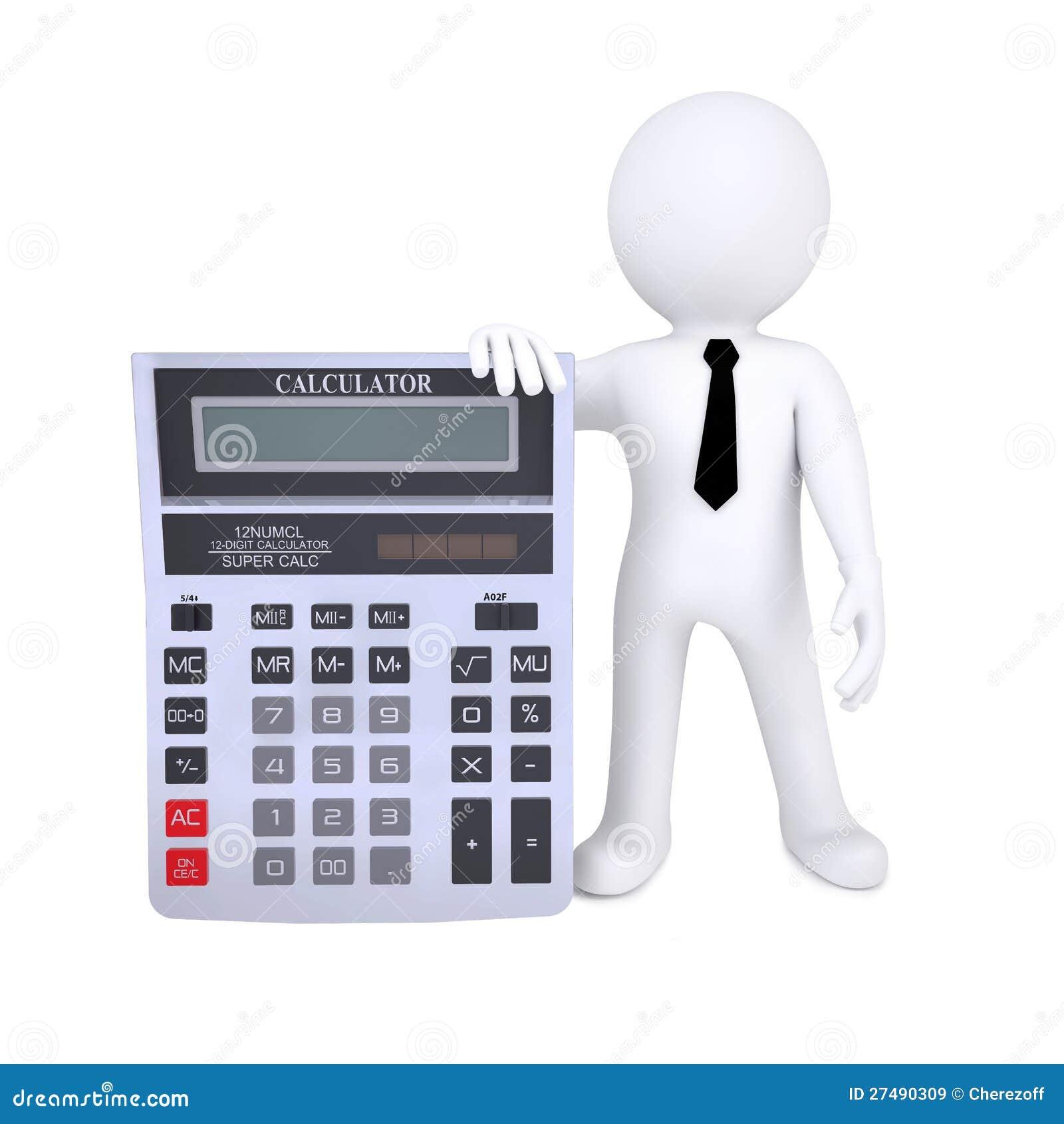 Mensch 3d Mit Einem Rechner Stock Abbildung Bild 27490309