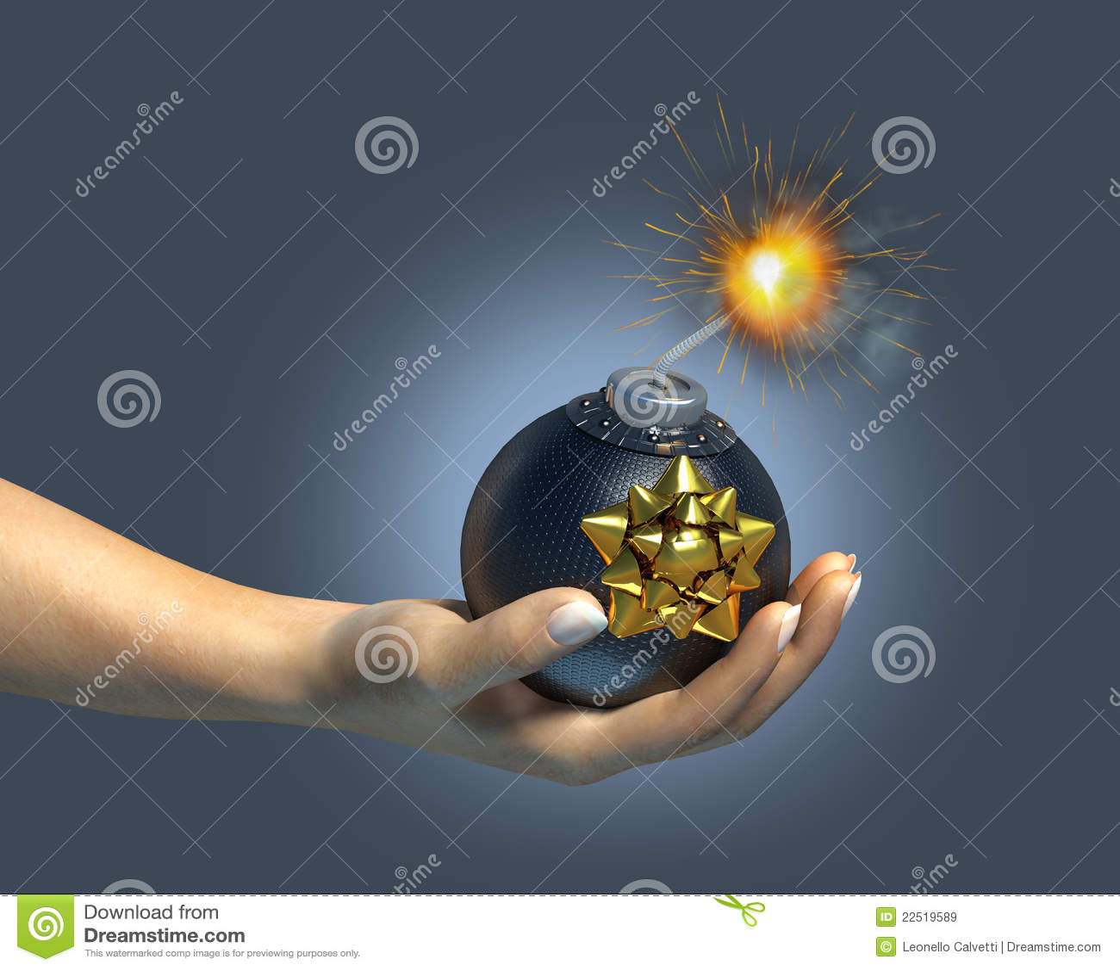 Menschliche Hand, die eine typische Bombe/ein Geschenk anhält.