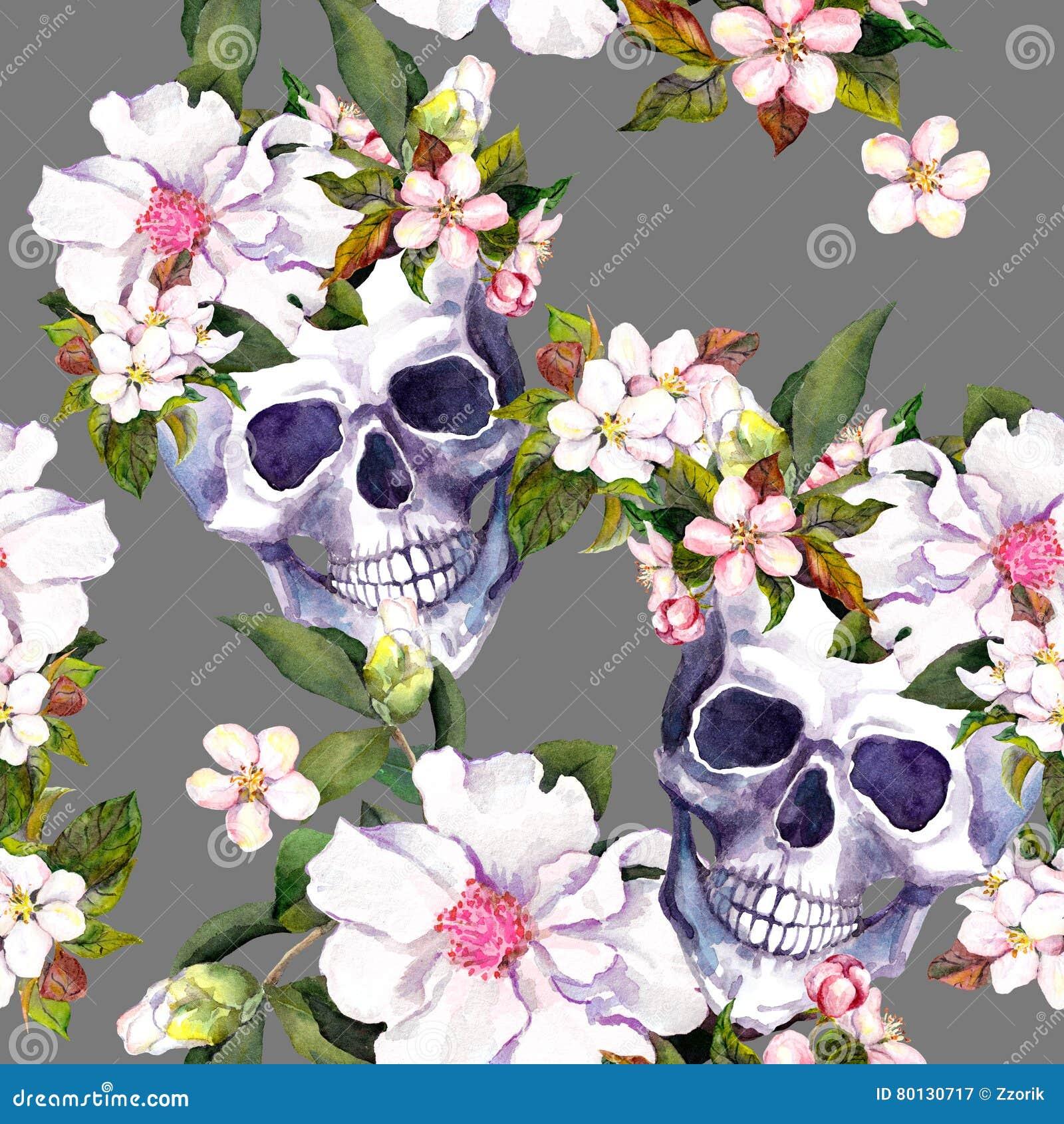 Menschliche Schädel, Blumen In Der Schmutzart Nahtloses Muster ...