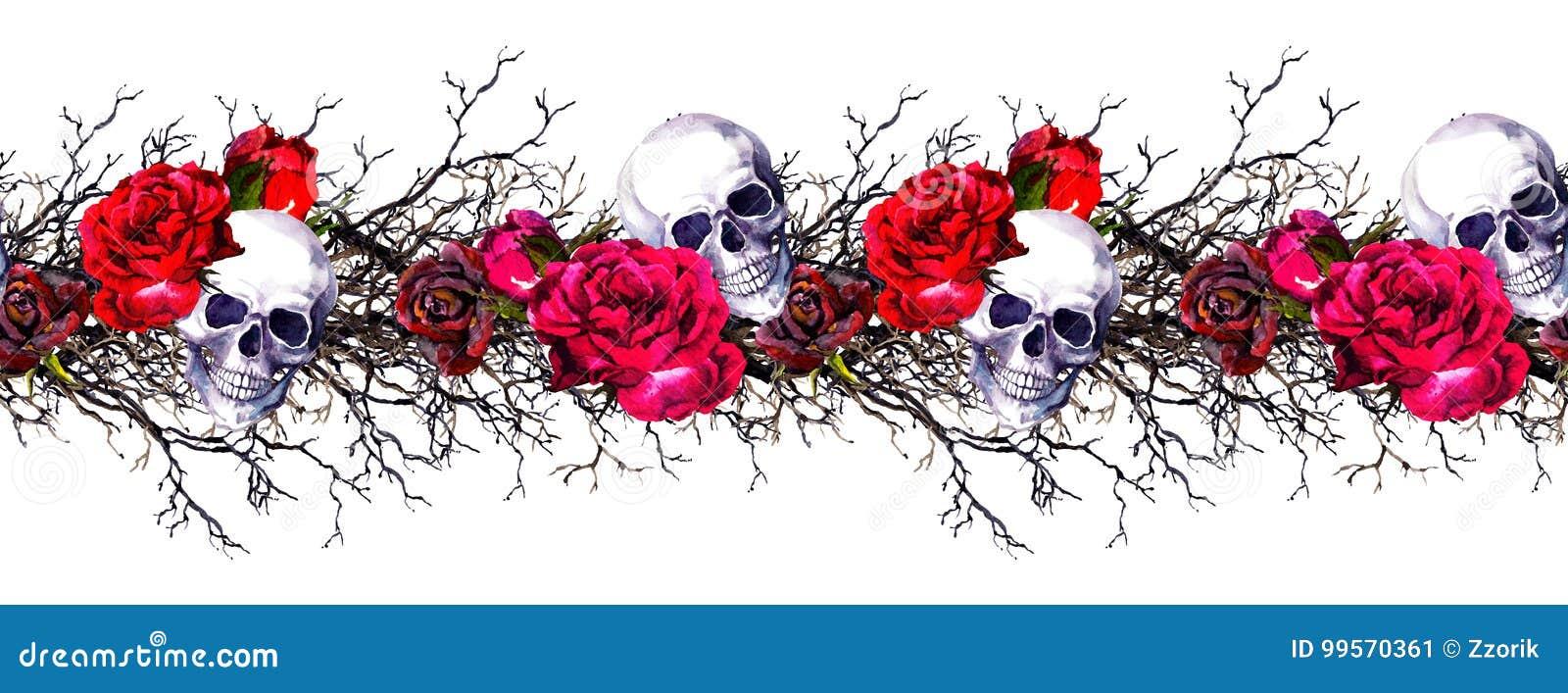 Menschliche Schädel Mit Rosafarbenen Blumen, Niederlassungen ...