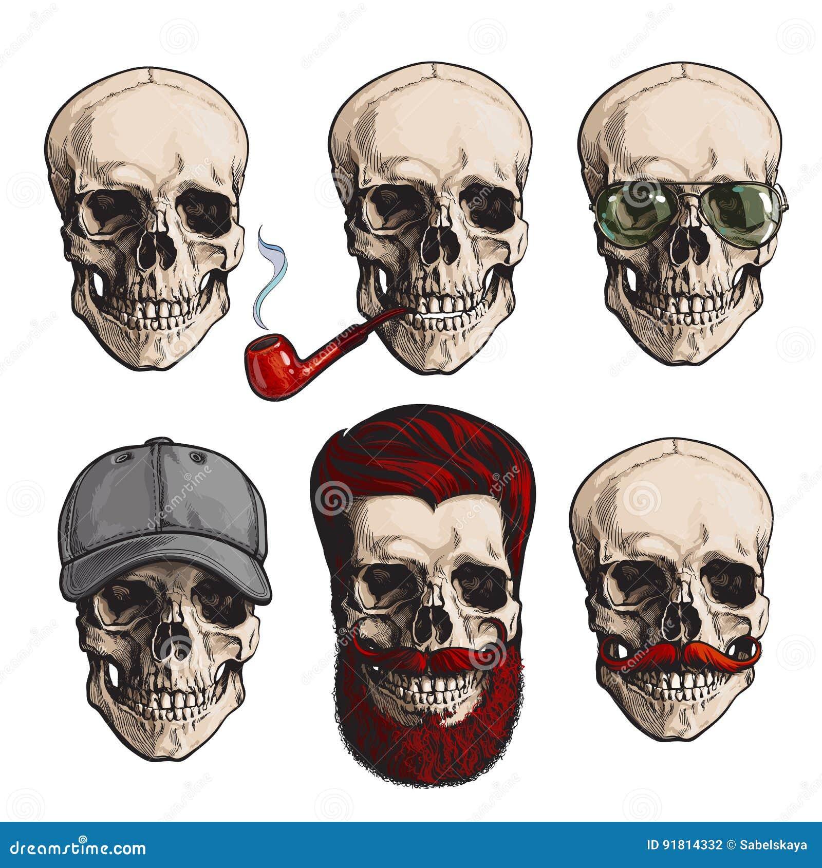 Menschliche Schädelknochen Mit Sonnenbrille, Bart, Schnurrbart ...