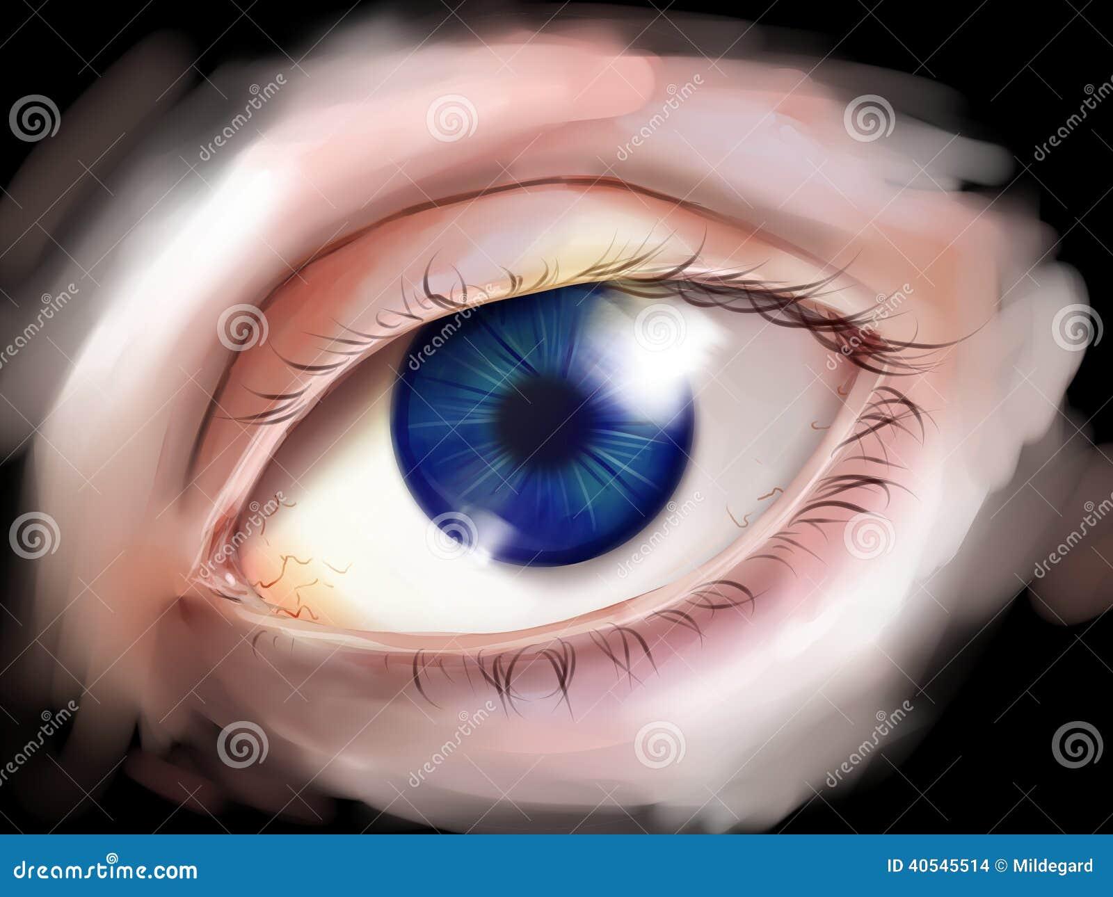 Menschliches Auge mit blauer Iris