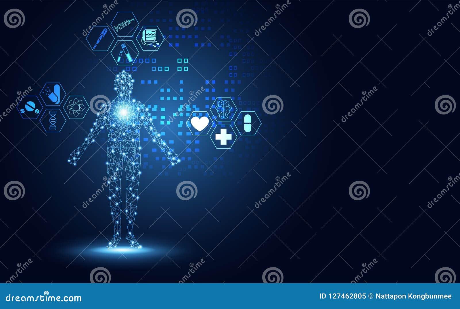 Menschliches digitales des abstrakten der Technologie digitalen Konzeptes der Gesundheit medizinischen
