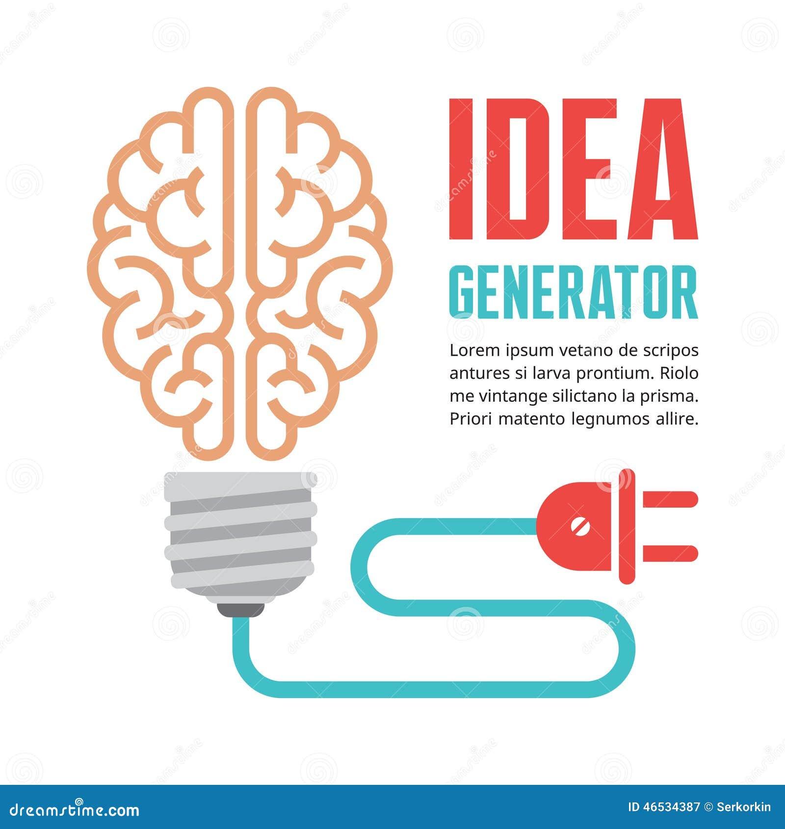 Menschliches Gehirn in der Glühlampevektorillustration Ideengenerator - kreatives infographic Konzept