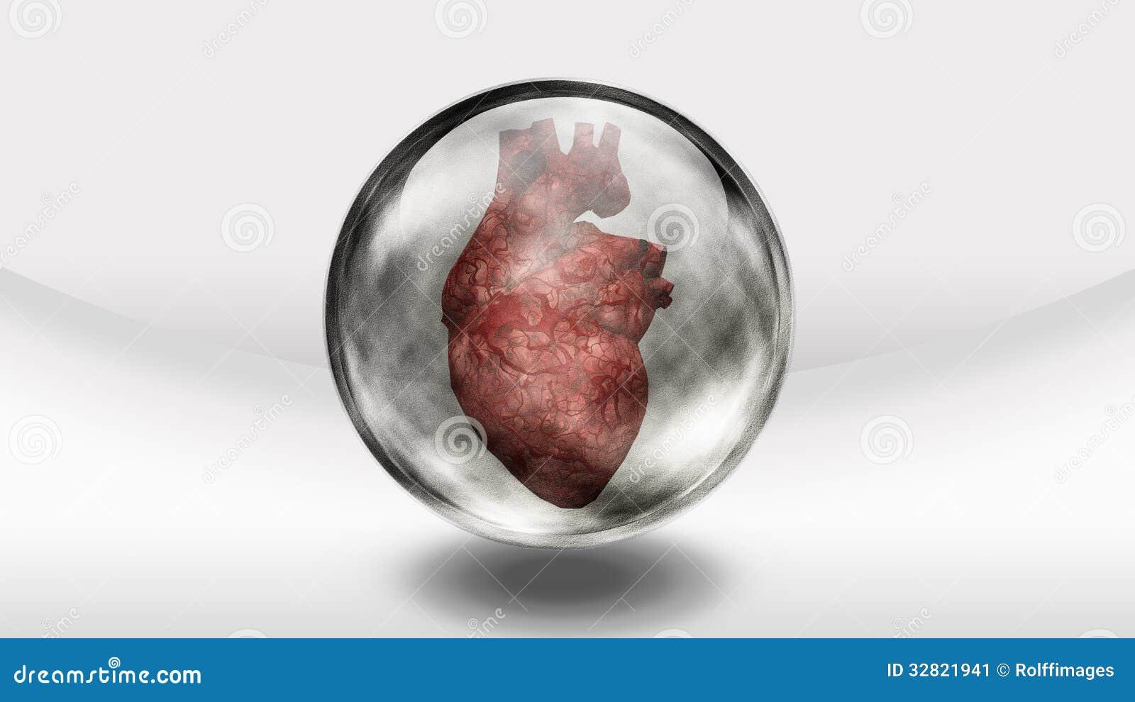 Menschliches Herz im Glas stock abbildung. Illustration von ikone ...