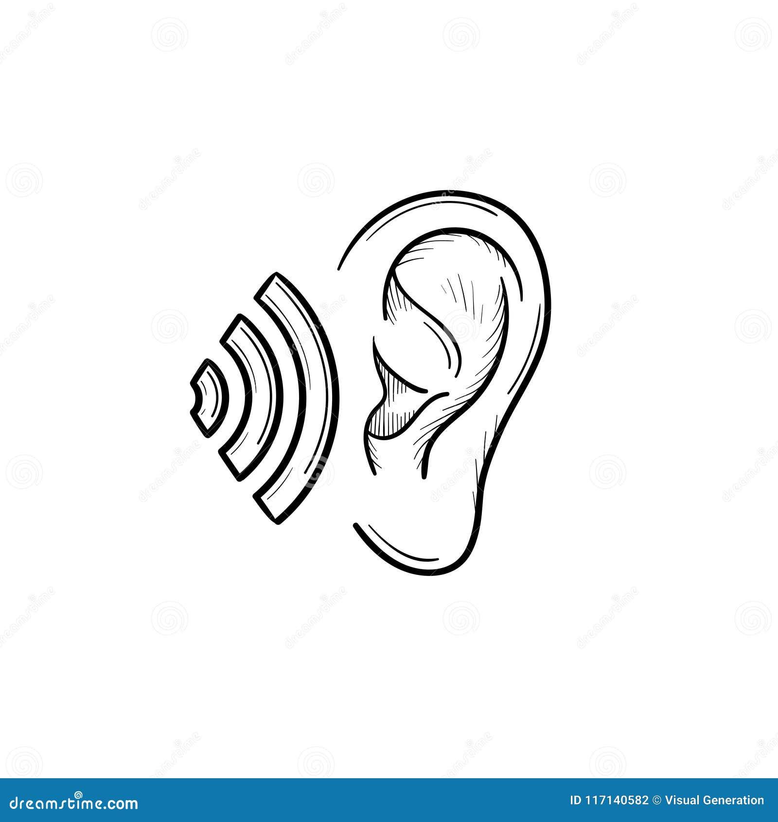 Menschliches Ohr mit Entwurfsgekritzelikone der Schallwellen Hand gezeichneter