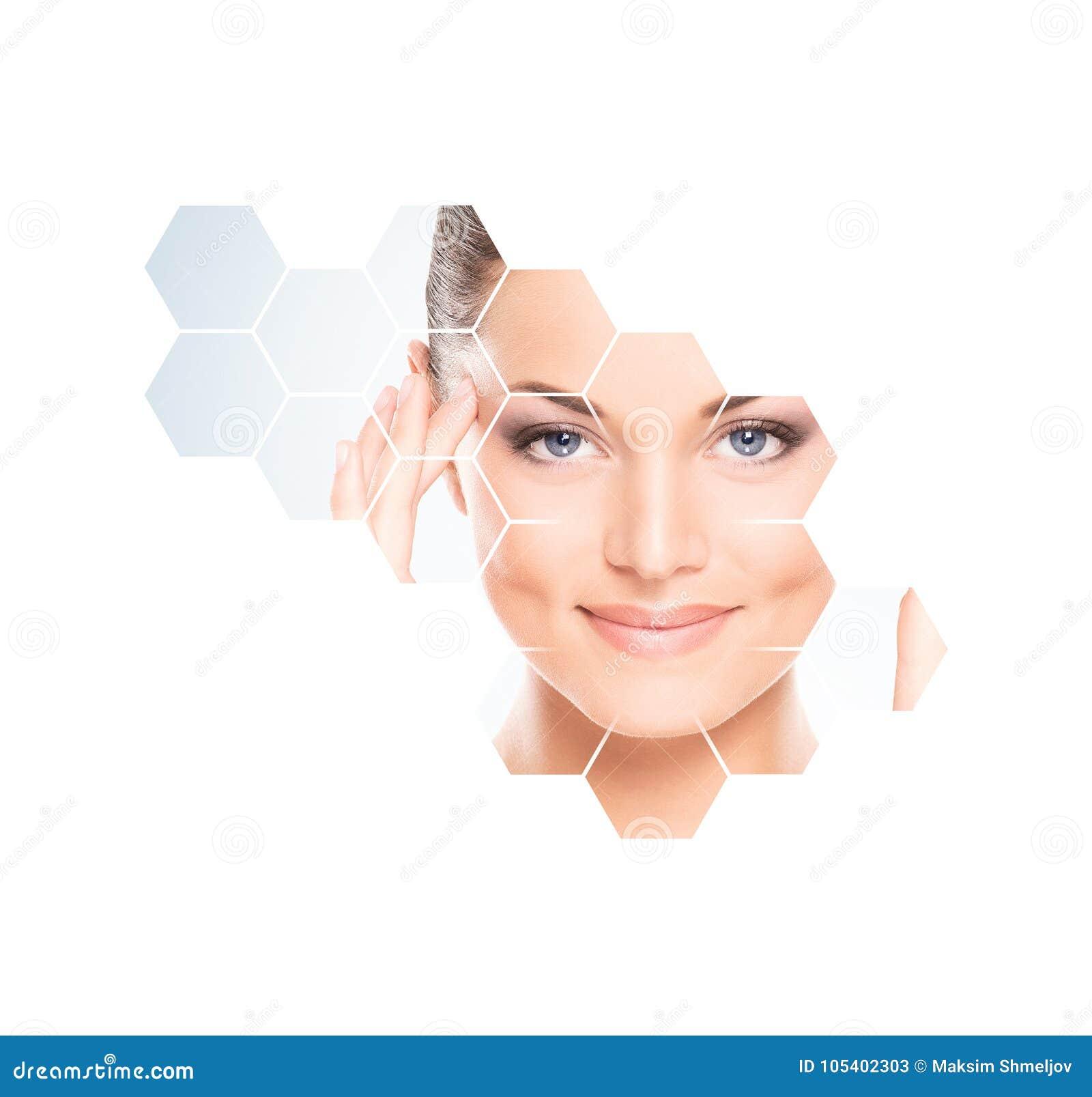 Menselijk gezicht in honingraat Jonge en gezonde vrouw in plastische chirurgie, geneeskunde, kuuroord en gezichts het opheffen co