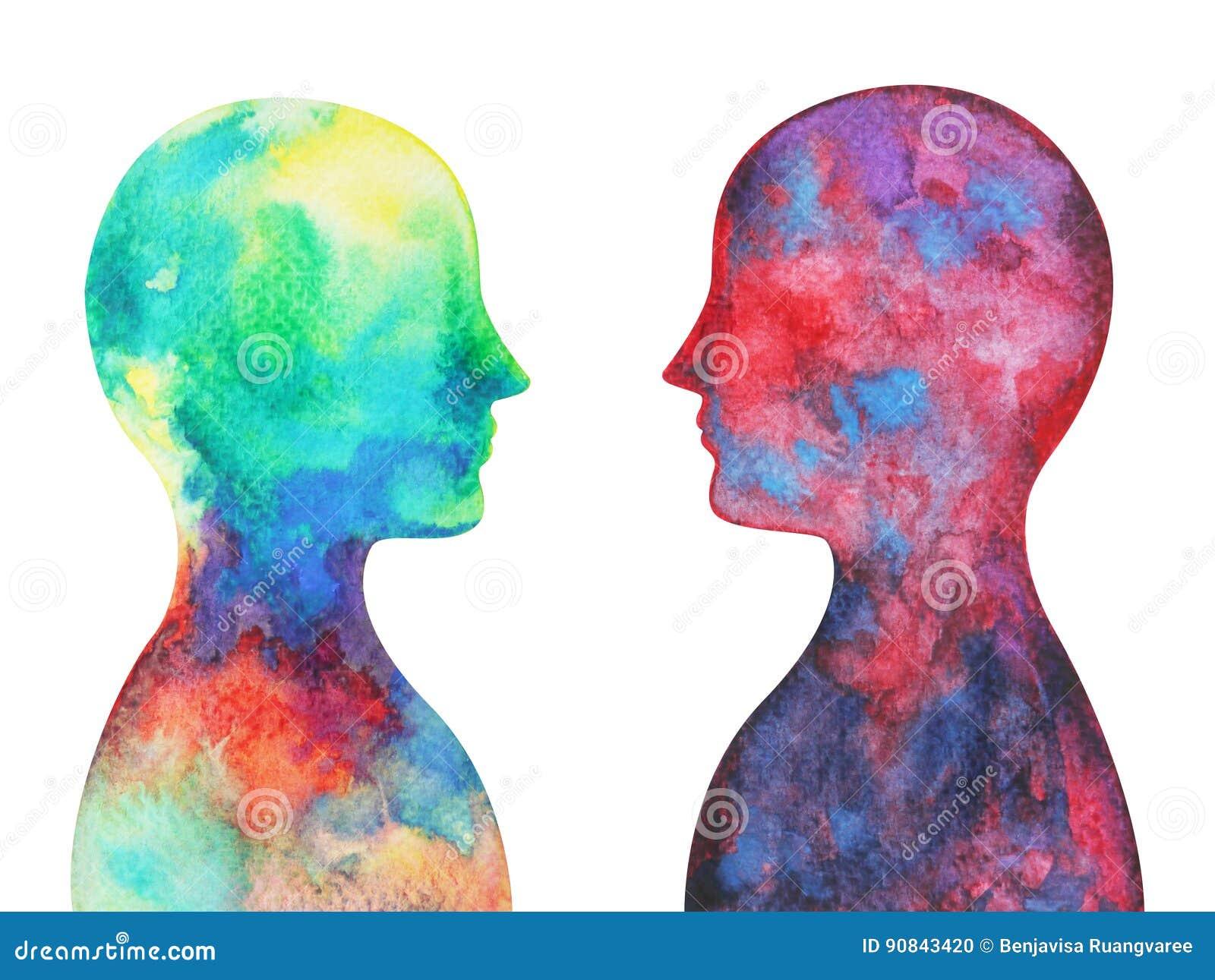 Menselijk hoofd, chakramacht, inspiratie abstracte gedachte