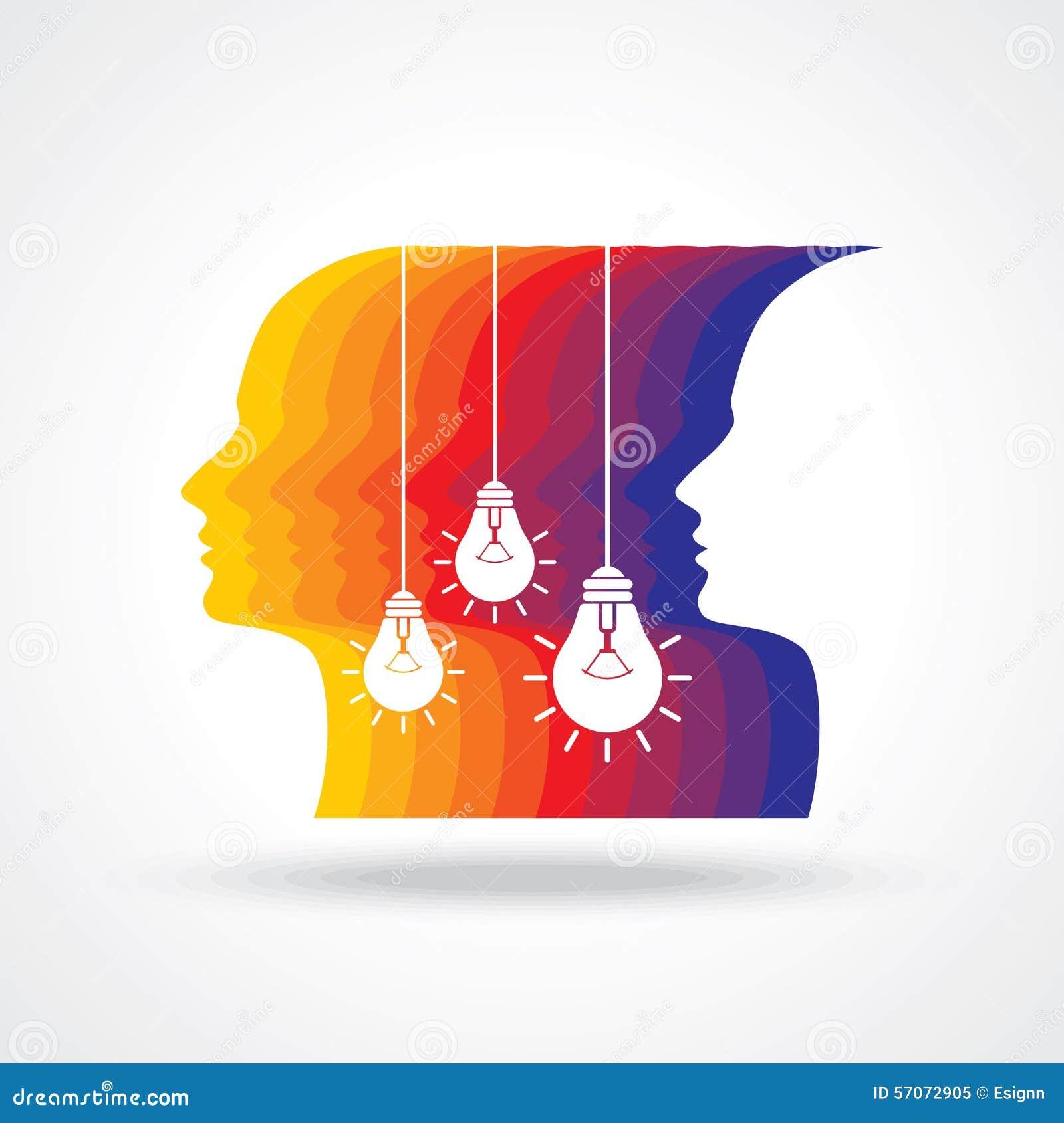 Menselijk hoofd die een nieuw idee denken