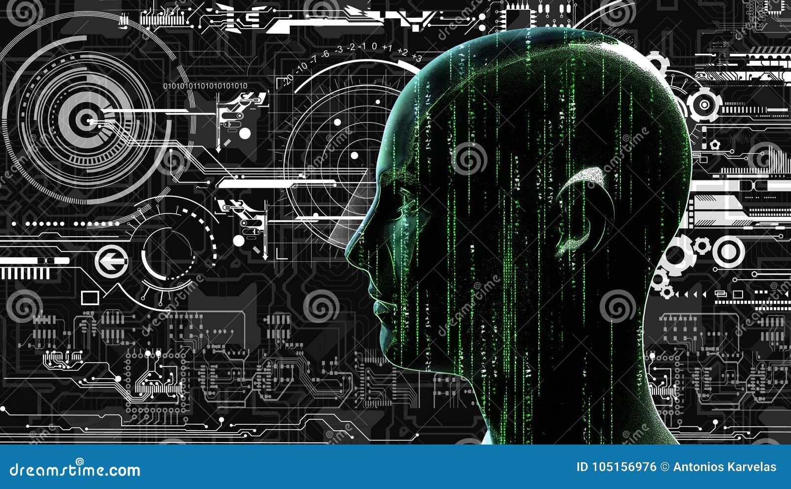 Menselijk technologie-matrijshoofd bij achtergrond met elektronische kringen