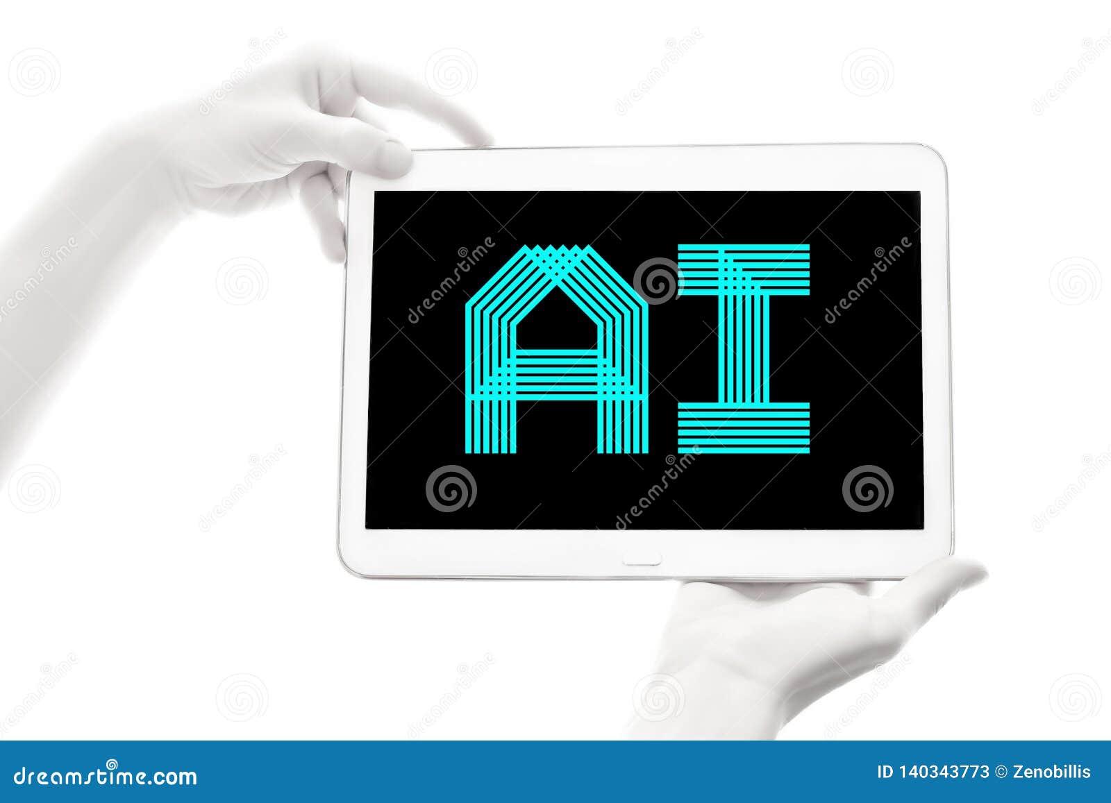 Menselijke bionische handen die elektronisch apparaat op witte achtergrond houden Kunstmatige intelligentie Futuristisch Concept