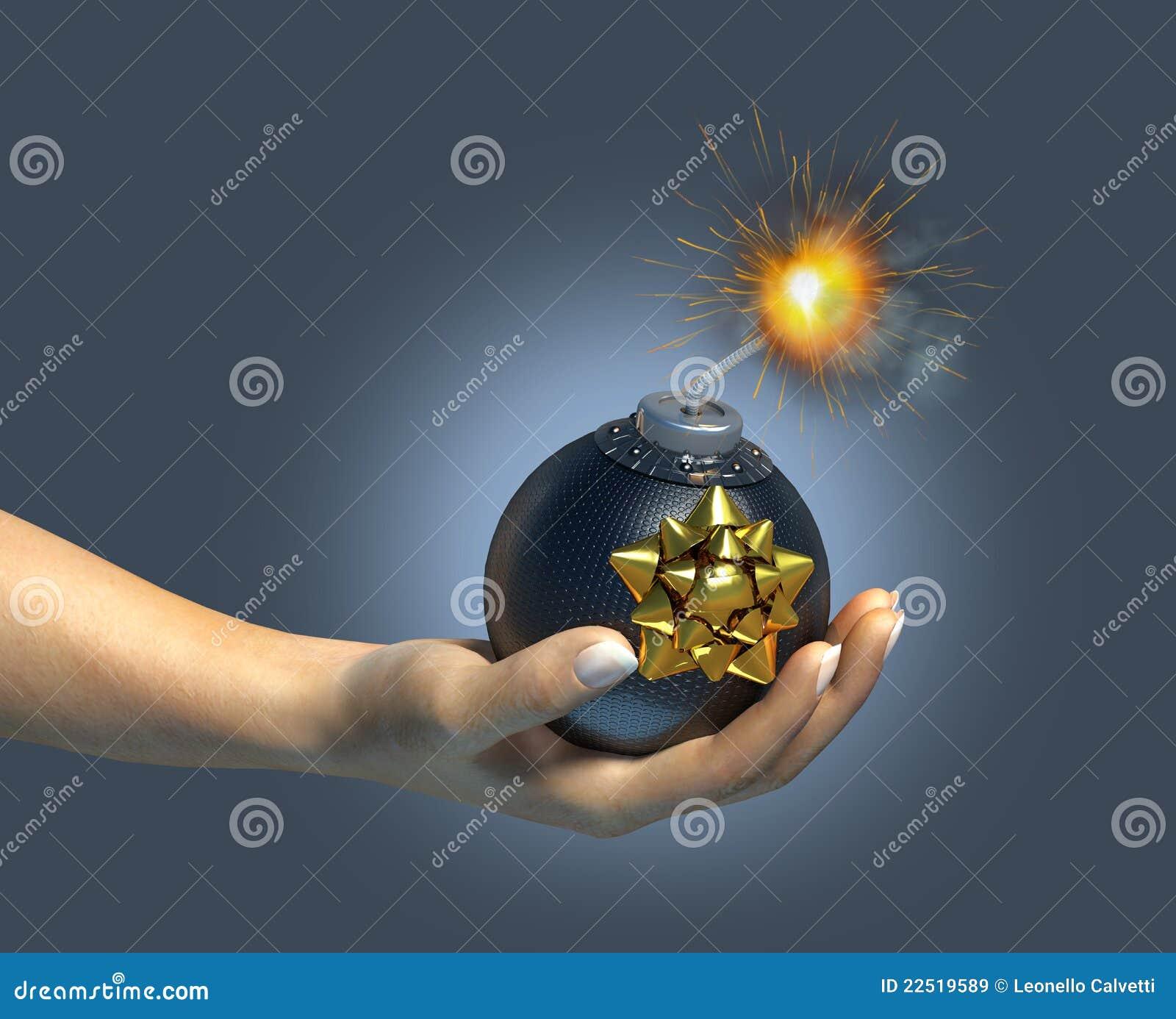 Menselijke hand die een typische bom/een gift houdt.