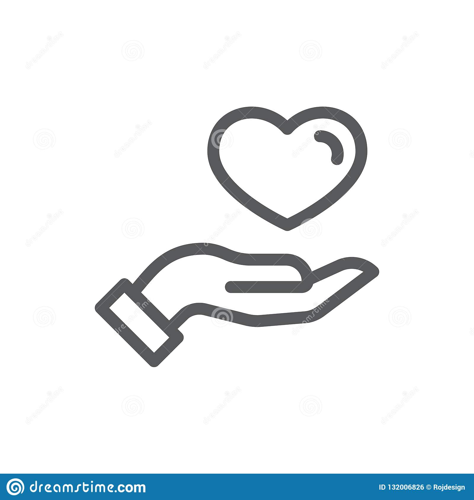 Menselijke handholding of dun het geven van het pictogram van de hartlijn met editable slag