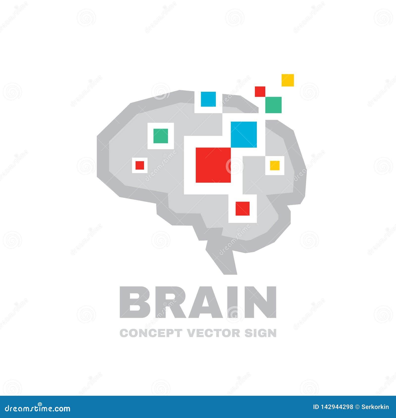 Menselijke Hersenen - het conceptenillustratie van het bedrijfs vectorembleemmalplaatje Abstracte geometrische structuur Het symb