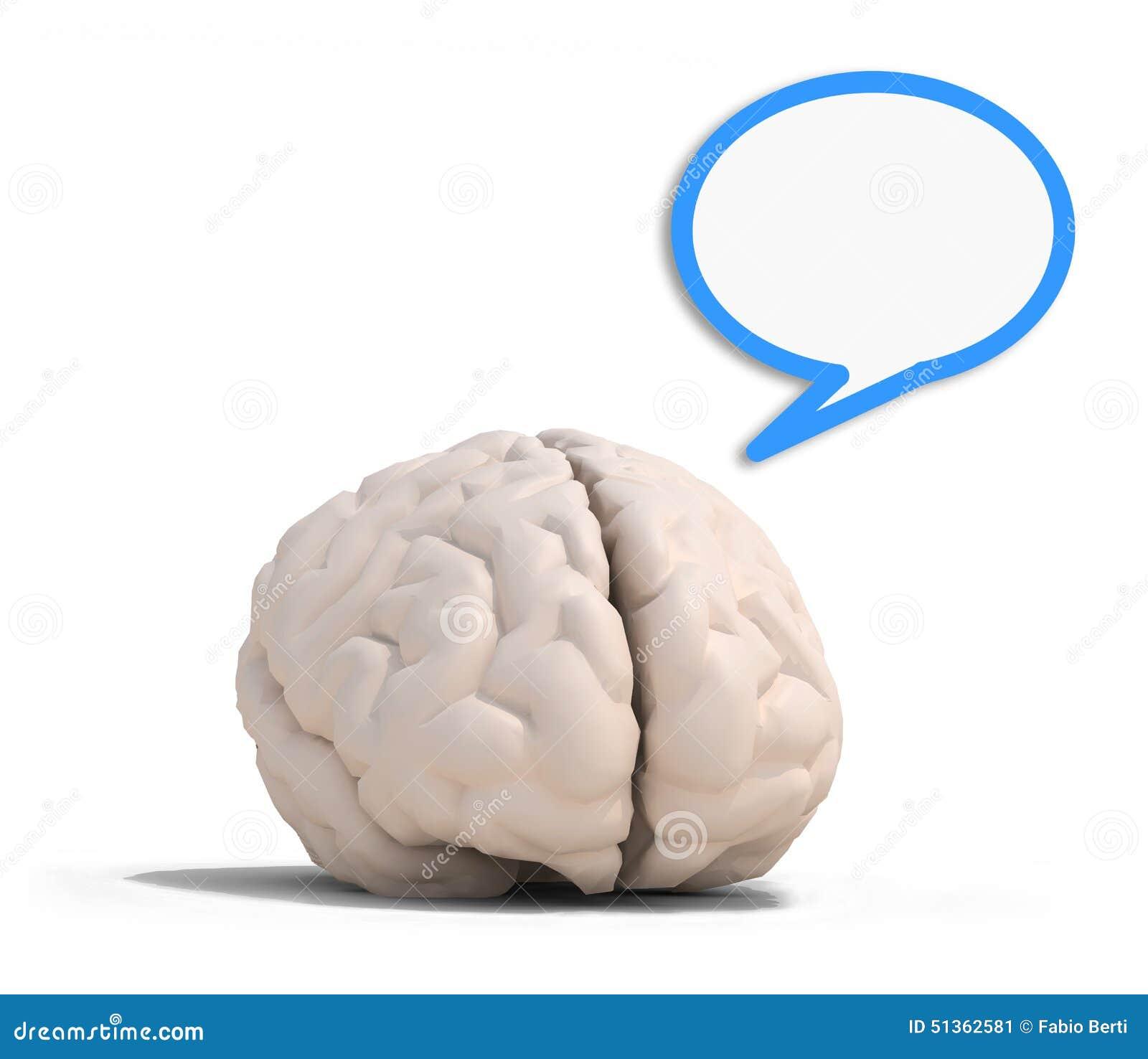 Menselijke hersenen met blauwe toespraakimpuls