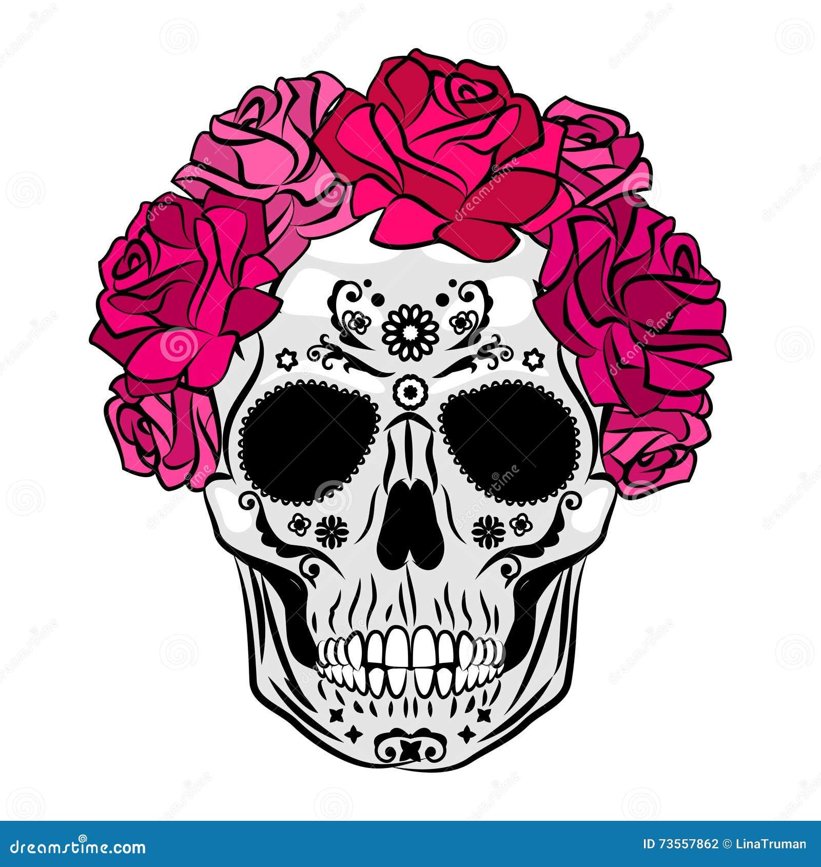 Menselijke Schedel Met Make Up Mexicaanse Catrina Schedelmake Up