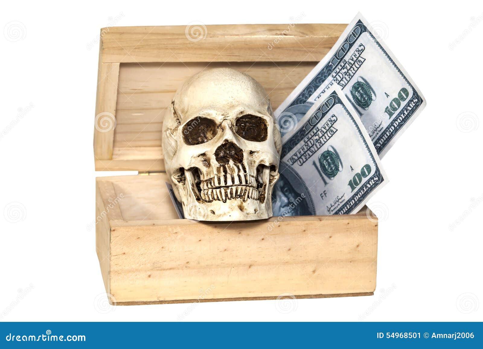 Menselijke schedel in schatdoos
