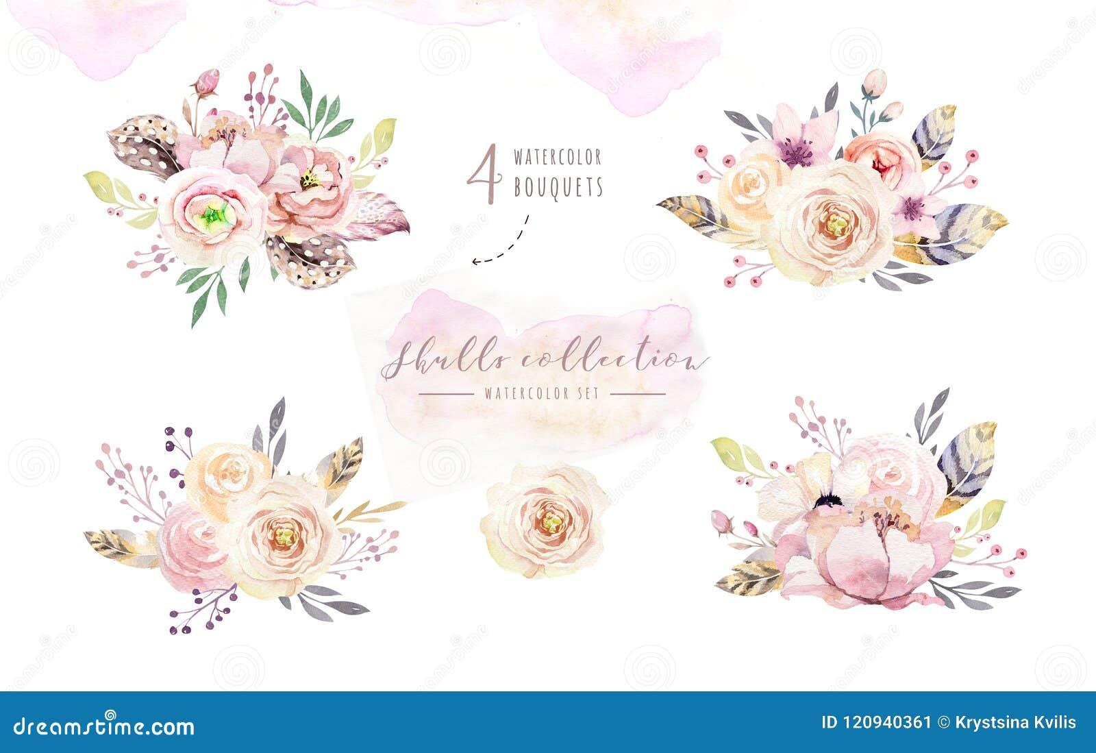 Menselijke waterverfschedel met bloemenboeketten De hoofdwijnoogst helloween illustratie Retro ontwerp van de tatoegeringsdood
