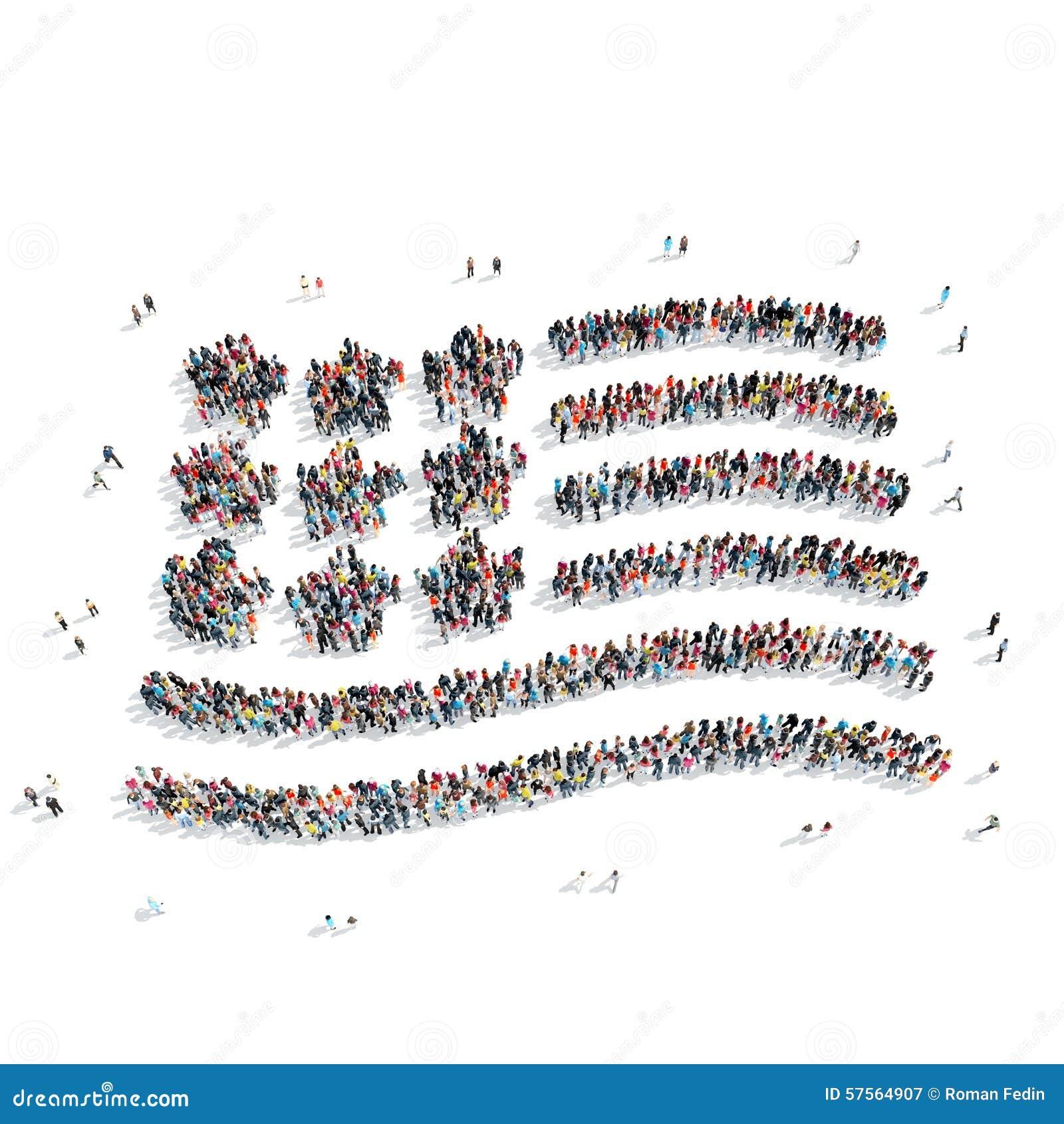 Mensen in de vorm van een Amerikaanse vlag