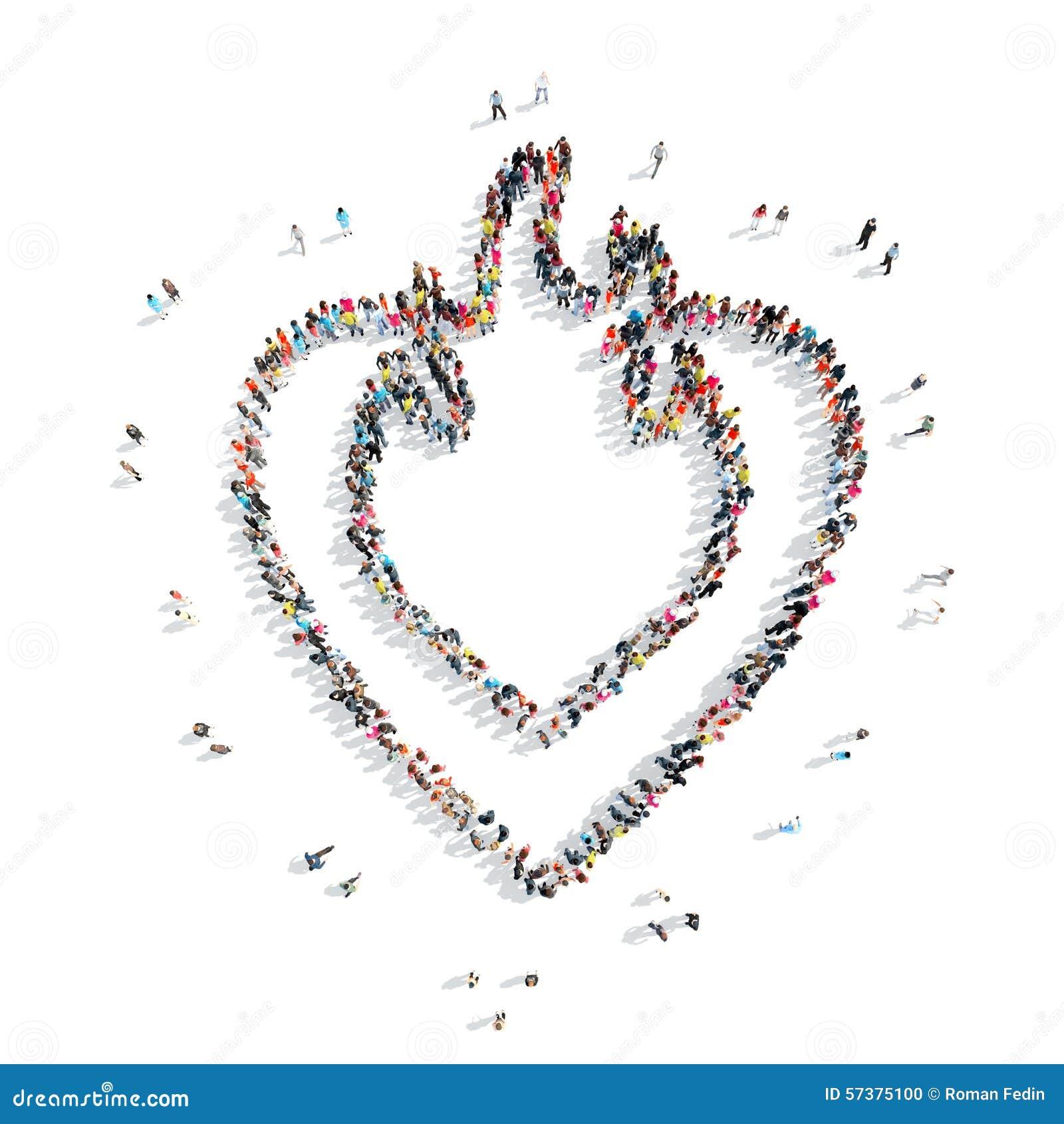 Mensen in de vorm van hart, cardio