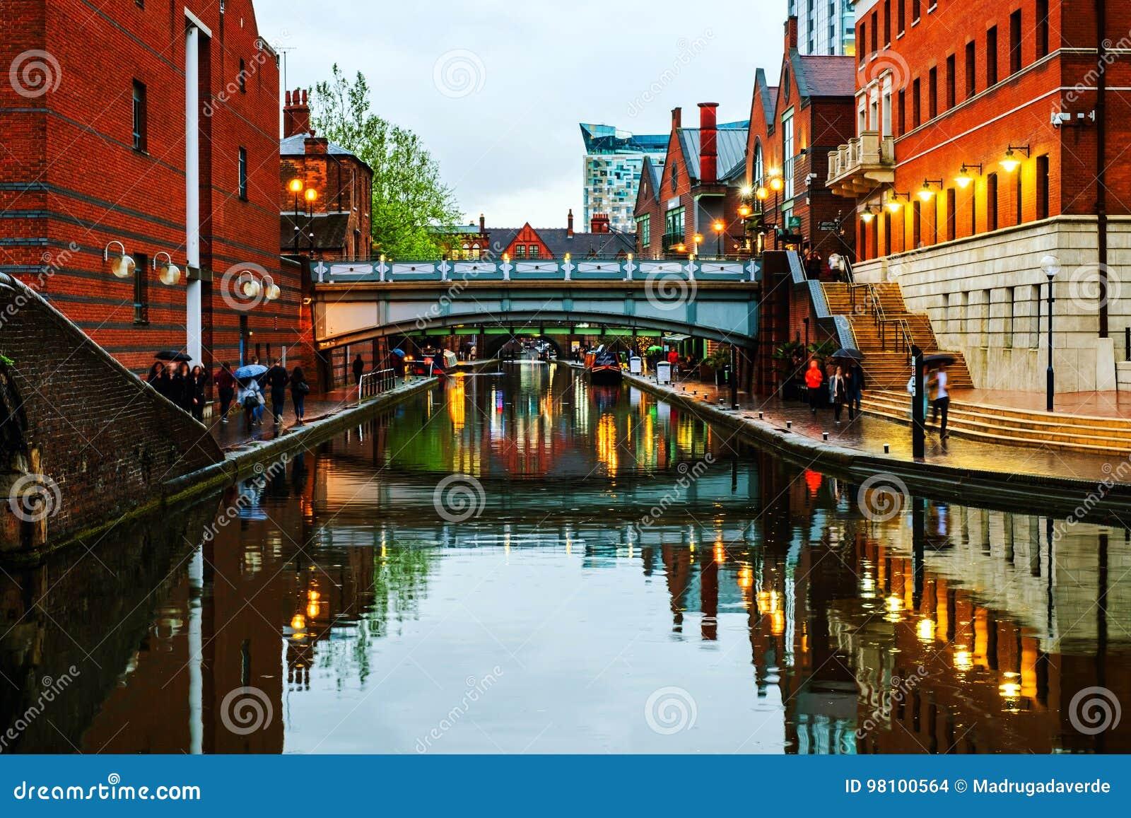 Mensen die bij het beroemde kanaal van Birmingham in het UK lopen