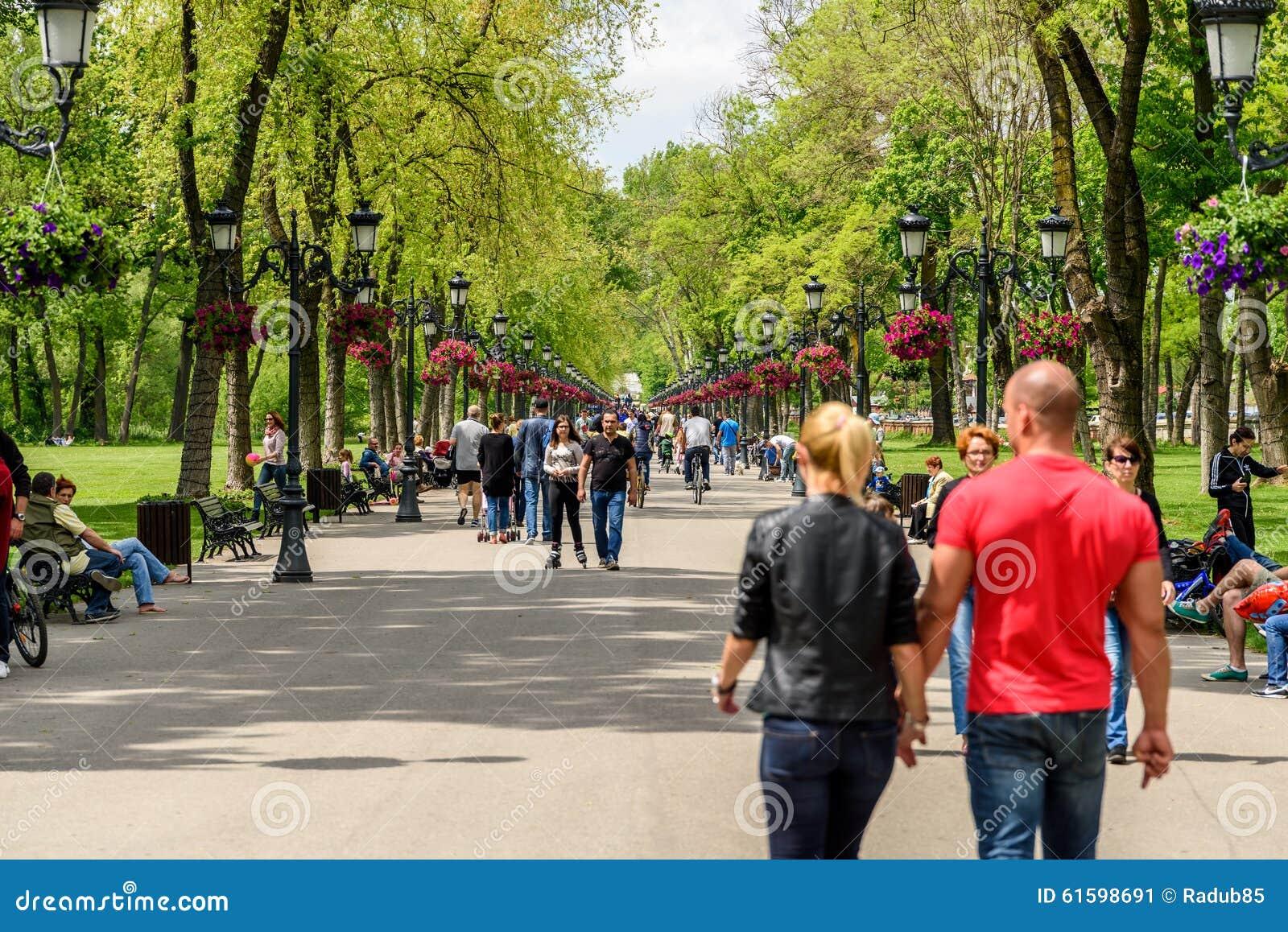 Mensen die een gang in park op de zomerdag nemen redactionele foto afbeelding 61598691 - Een gang ...