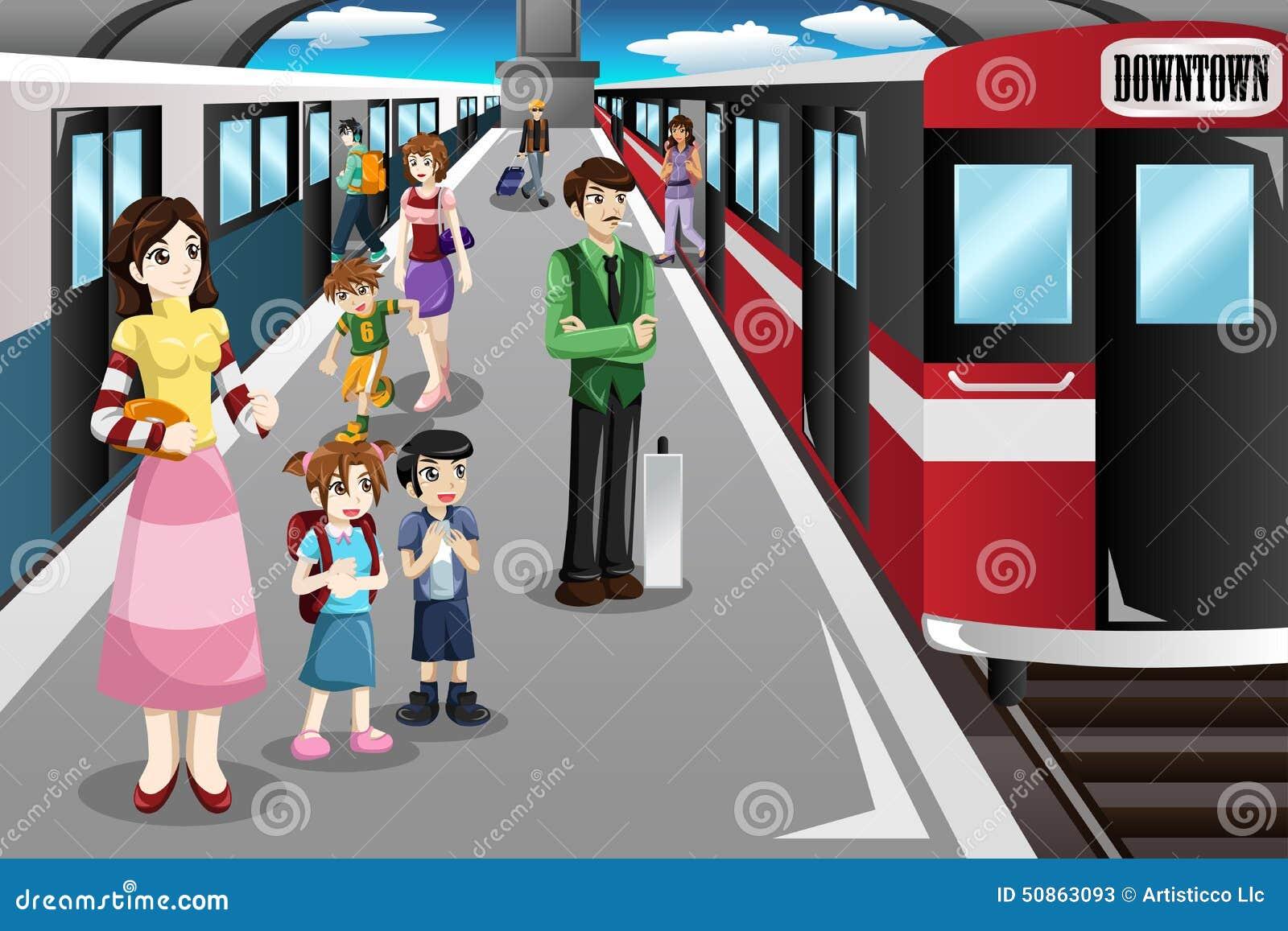 Mensen Die In Een Station Wachten Vector Illustratie ... - photo#24