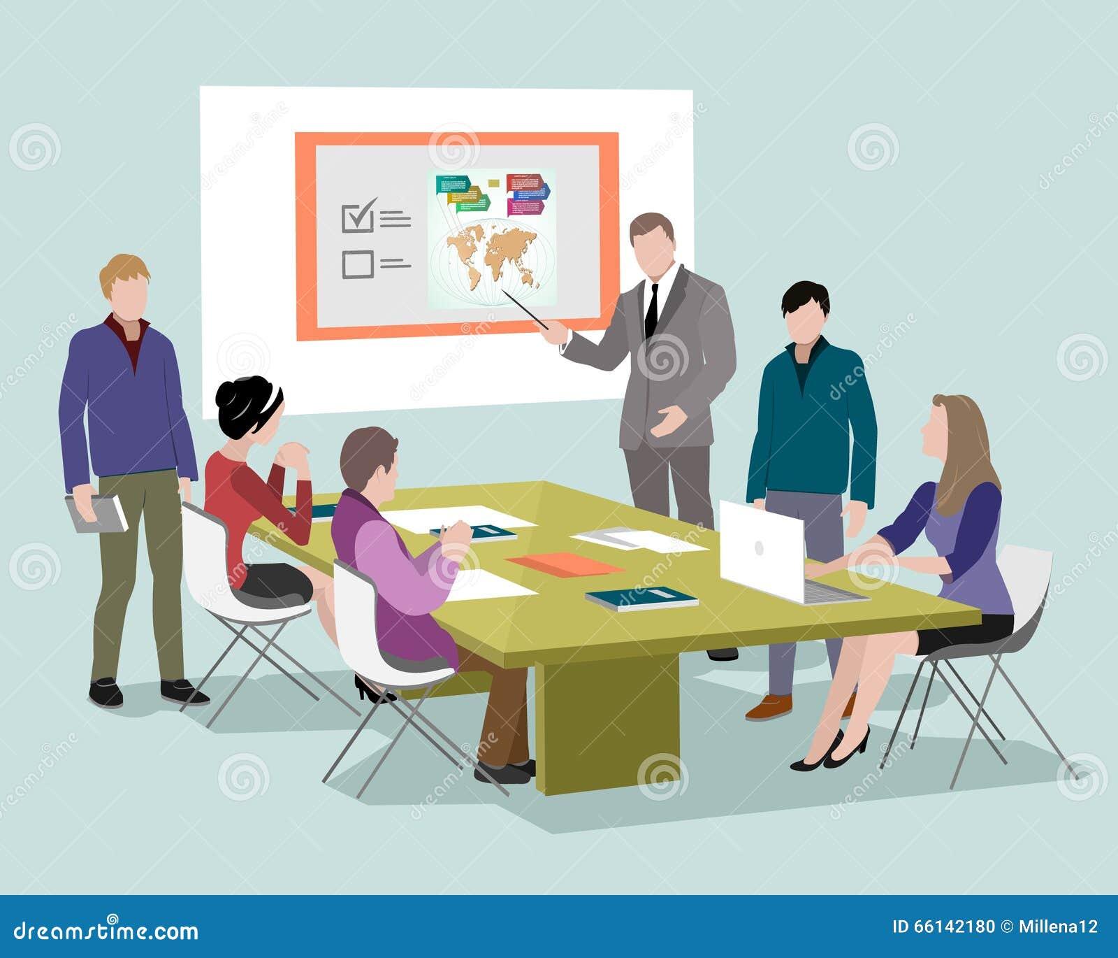 Mensen die en bij de computers in bureau spreken werken Personeel rond lijst die met laptop tablet werken Bureauvergaderzaal 3d i