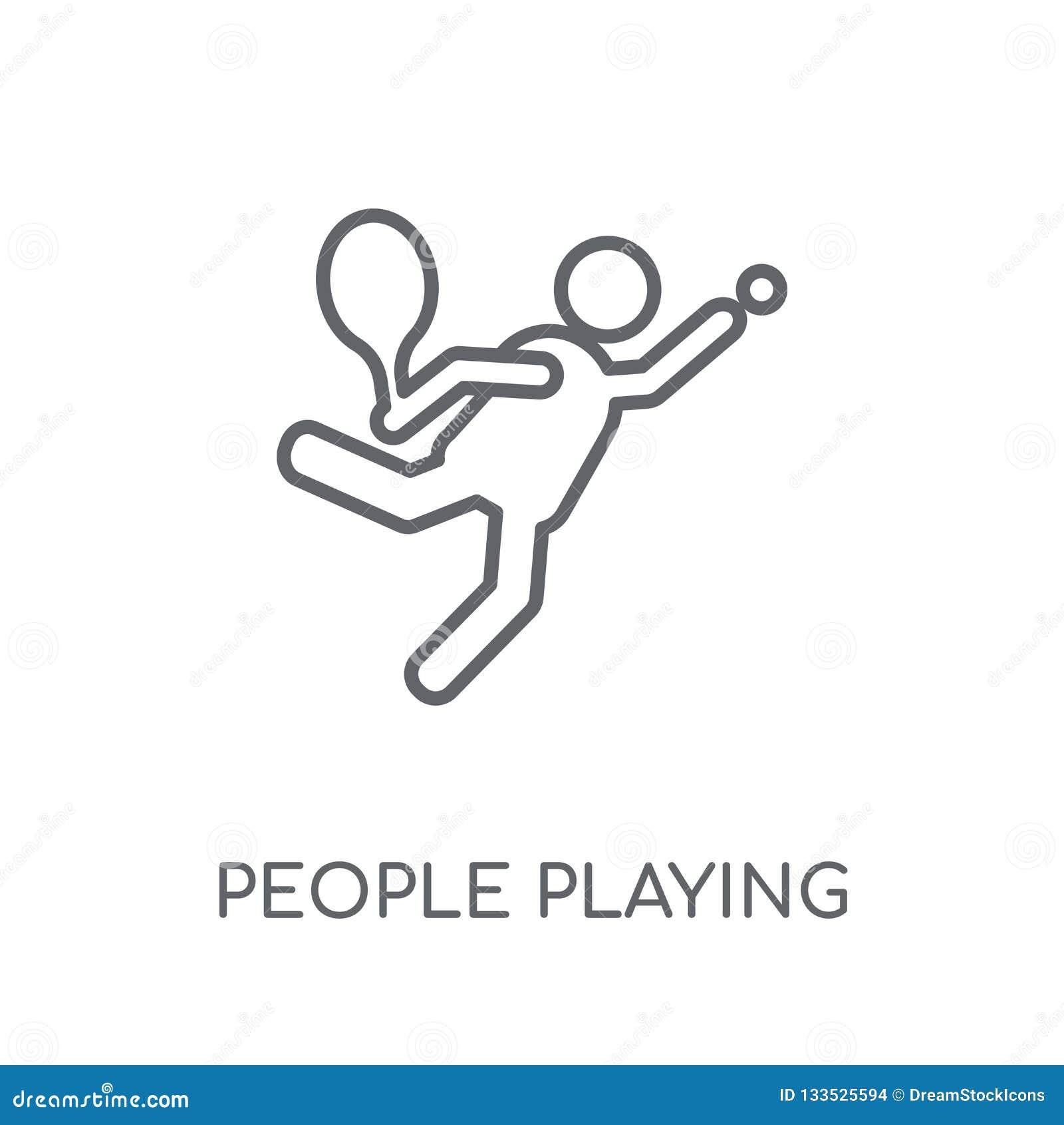 Mensen die het lineaire pictogram van het Tennispictogram spelen Moderne overzichtsmensen pl
