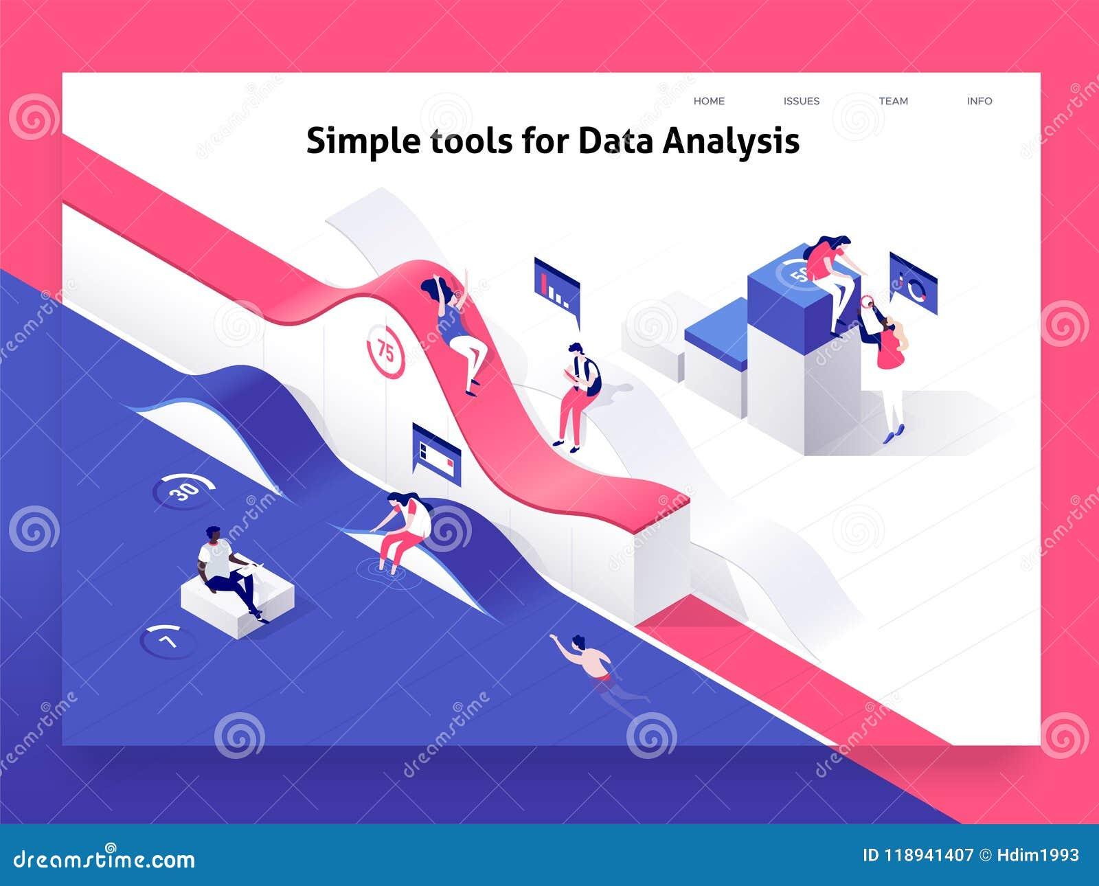 Mensen die met grafieken interactie aangaan en statistieken en gegevens analyseren Landend Paginamalplaatje 3d isometrische vecto